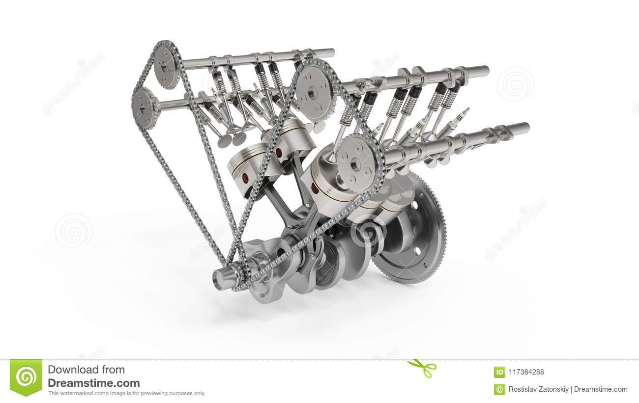 3d Rendering Of An Internal Combustion Engine Engine