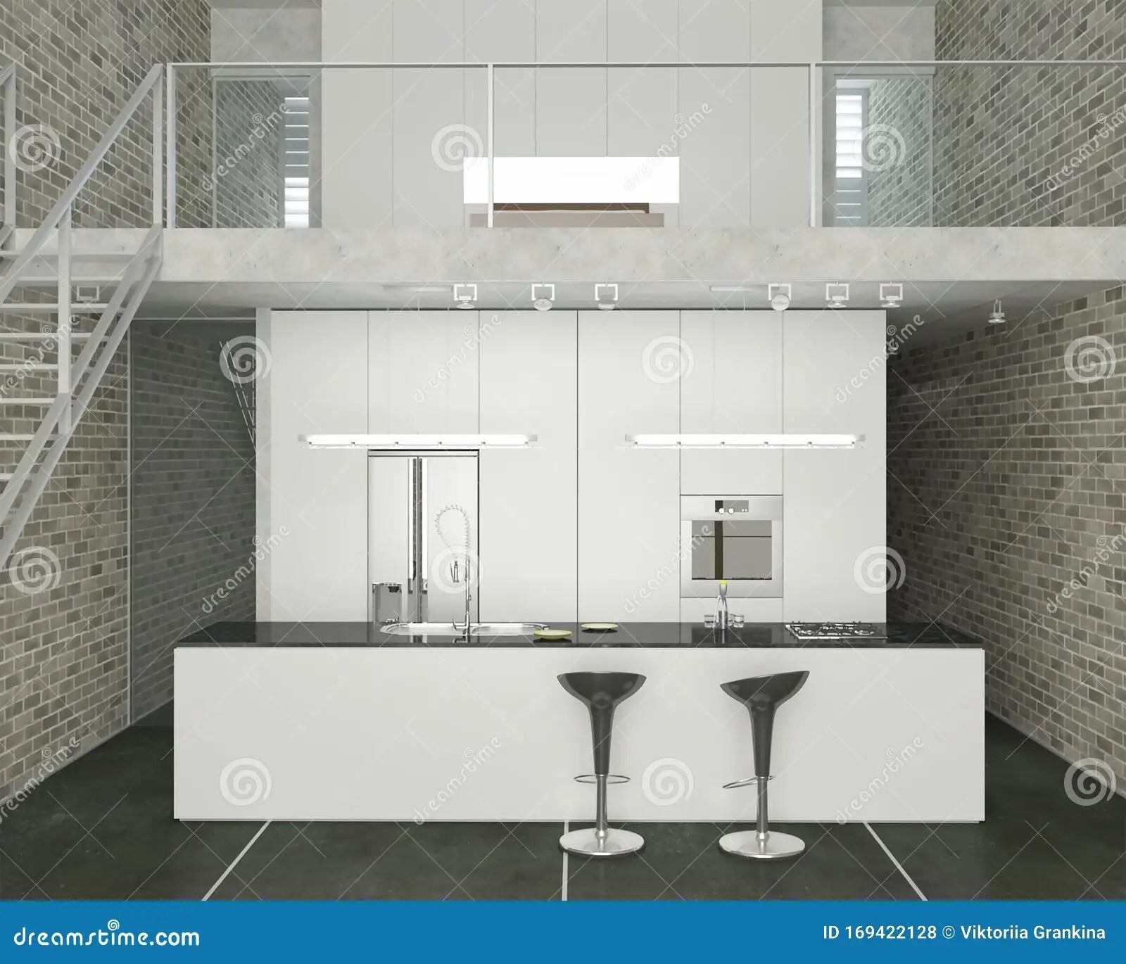 3D Rendering Of Loft Kithcen Interior Design With Second Floor | Second Floor Stairs Design | Floor Plan | Hall | 1St Floor Veranda | Outside | Most Beautiful