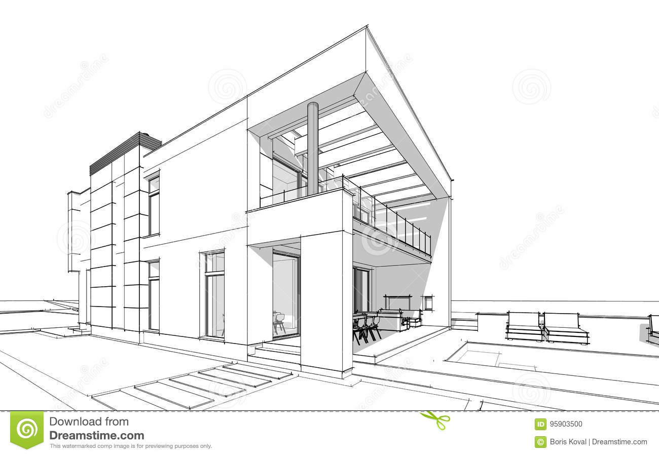 3d Rendering Sketch Of Modern Cozy House Stock