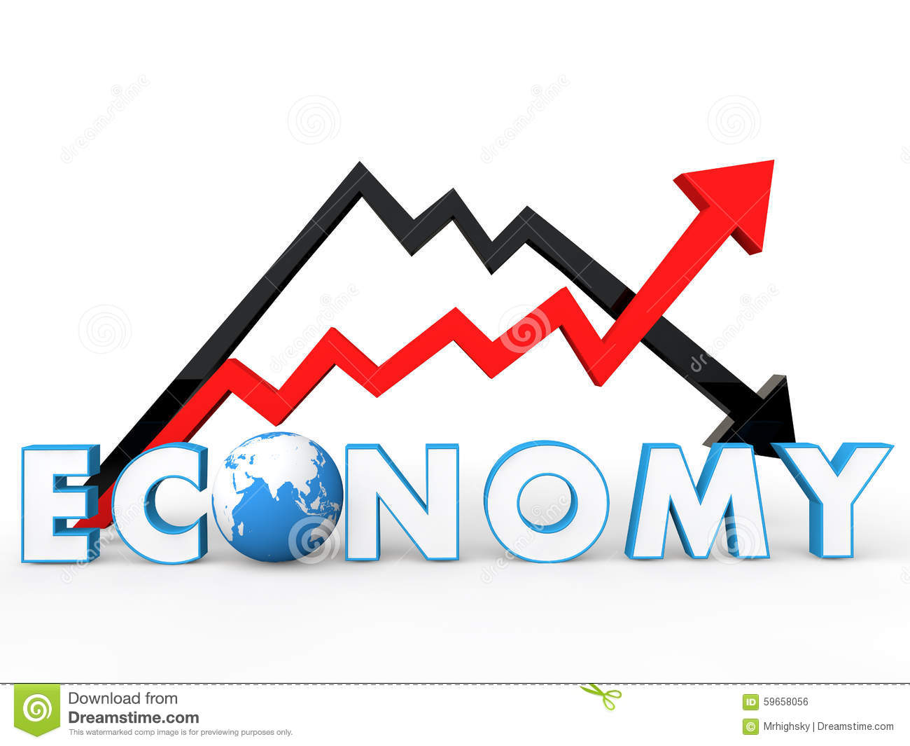 3d Up And Down Arrows With Global Economy Concept Stock