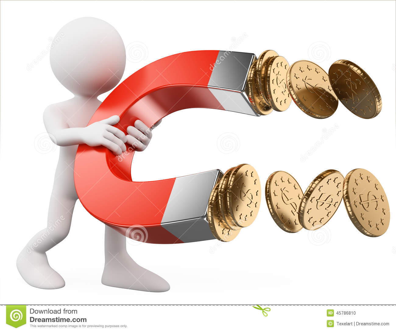 3d White People Man With A Magnet Attracting Money Stock