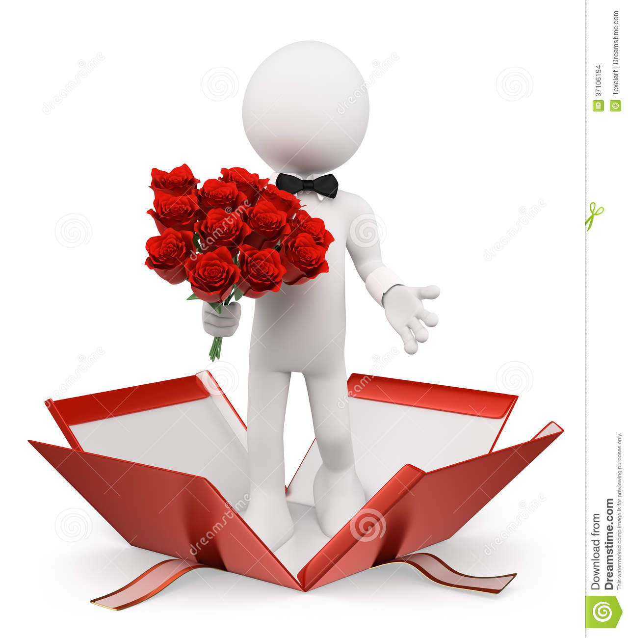 3D White People Valentines Man With A Bouquet Of Roses