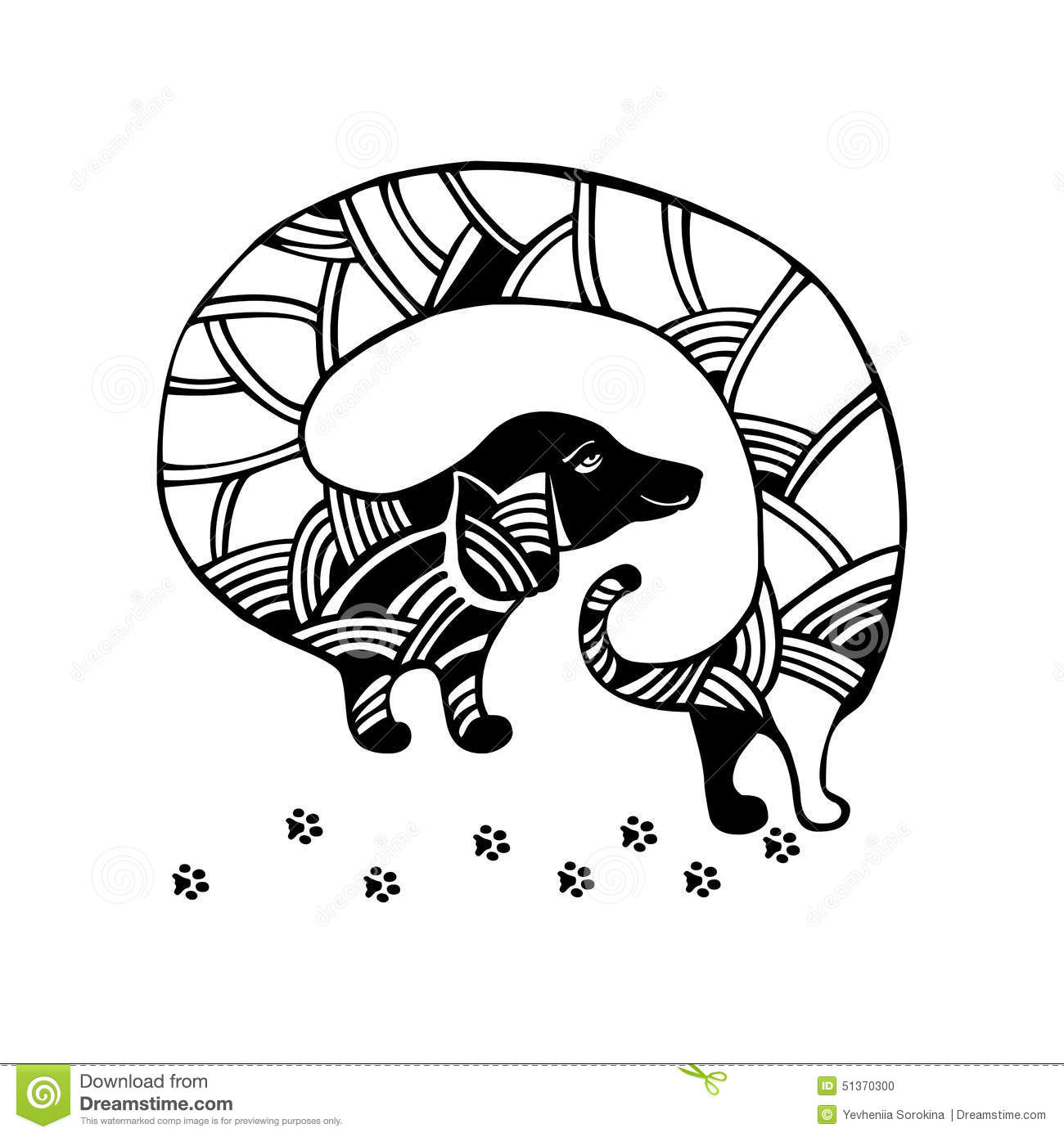 Dachshund Dog Vector Cartoon Illustration Stock Vector