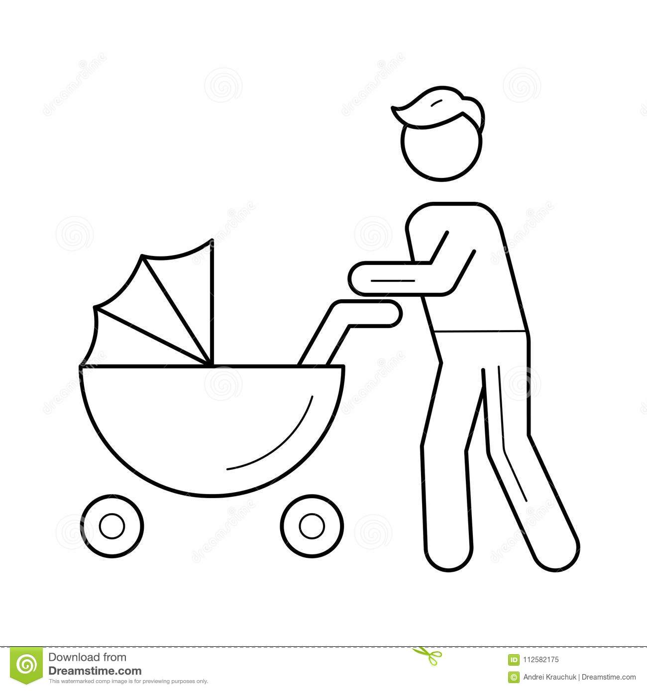 Dad Walking With Baby In Pushchair Line Icon Stock Vector