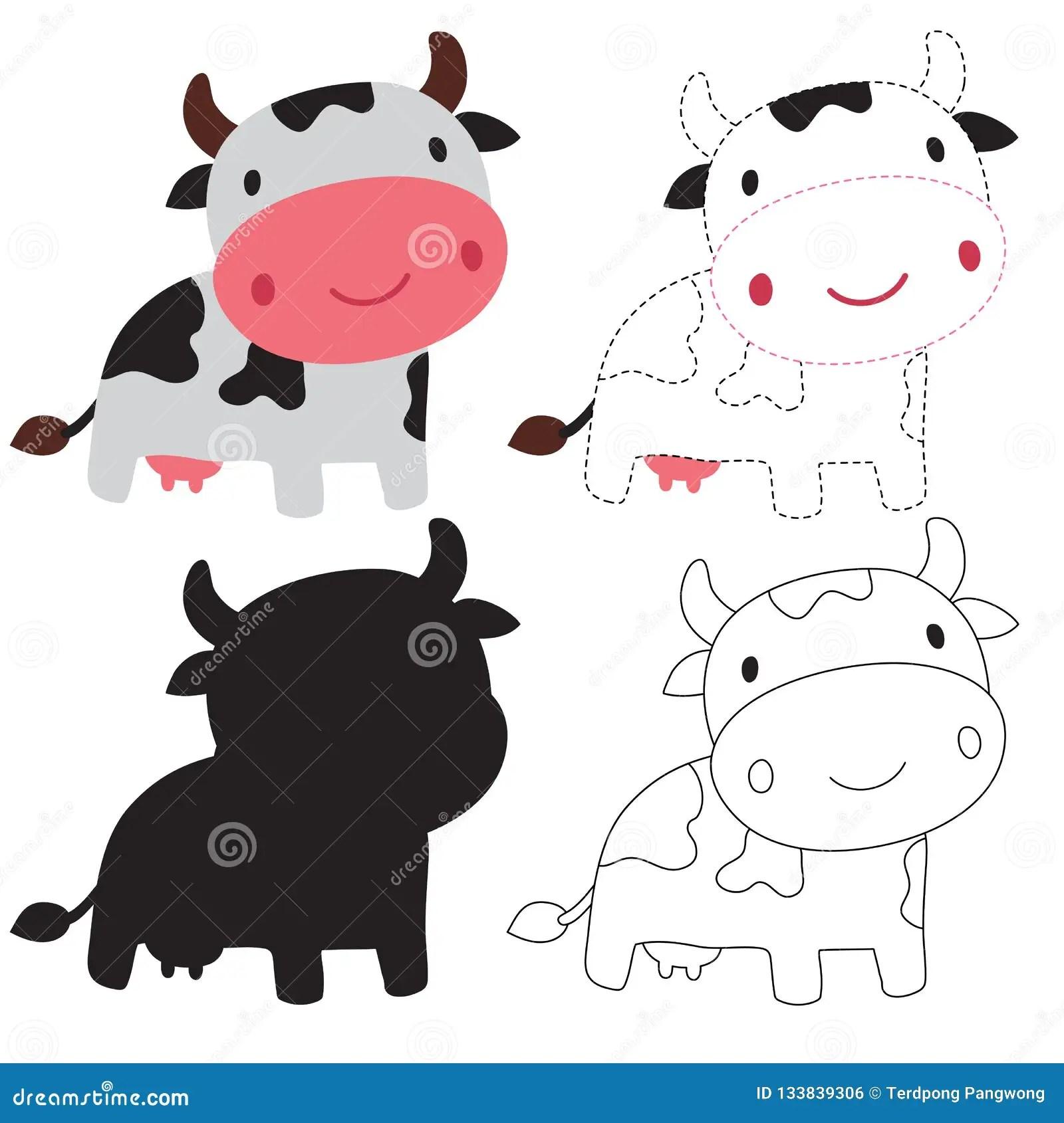 Dairy Cow Worksheet Vector Design Stock Vector