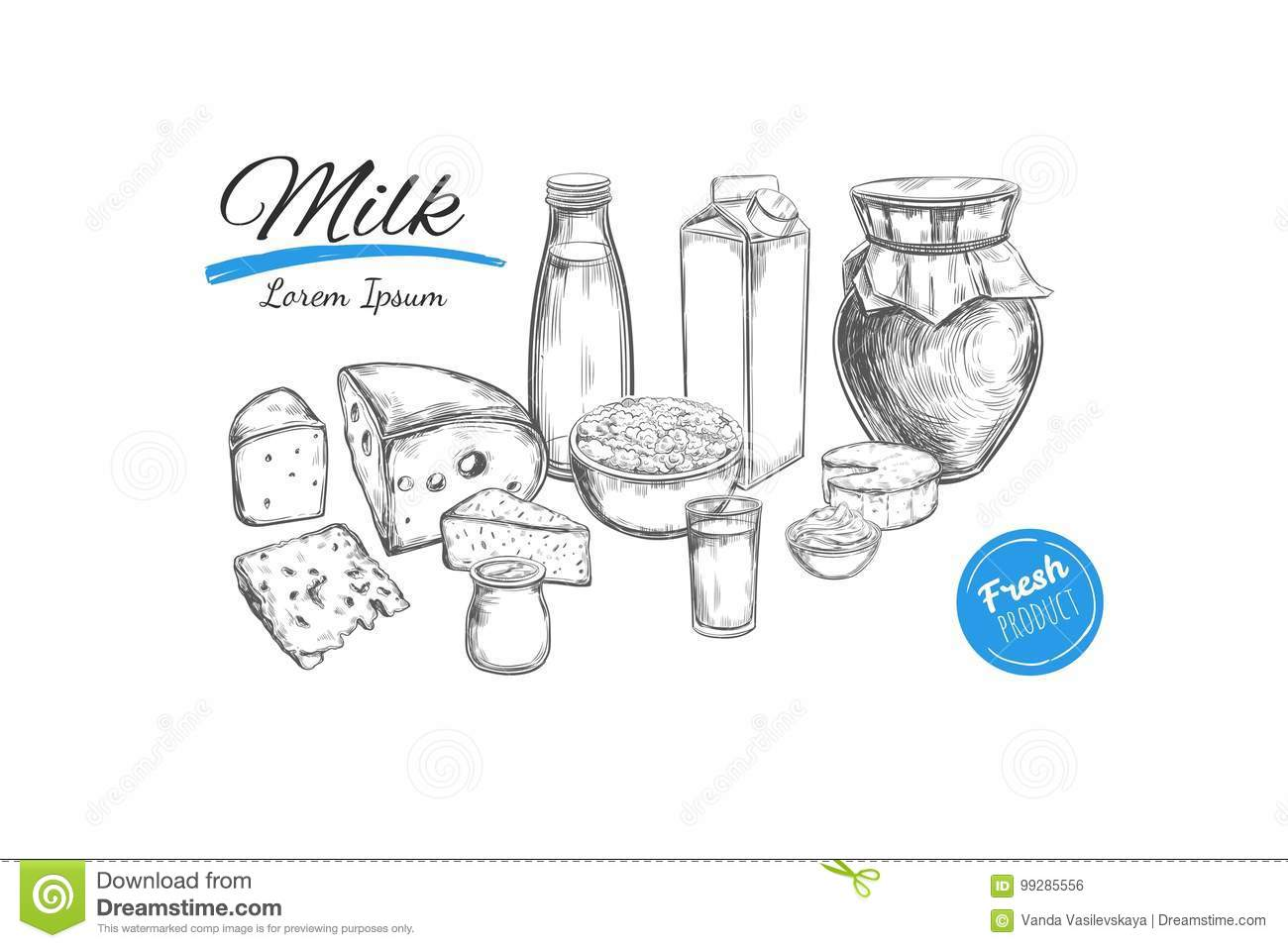 Dairy Products Collection Stock Photo