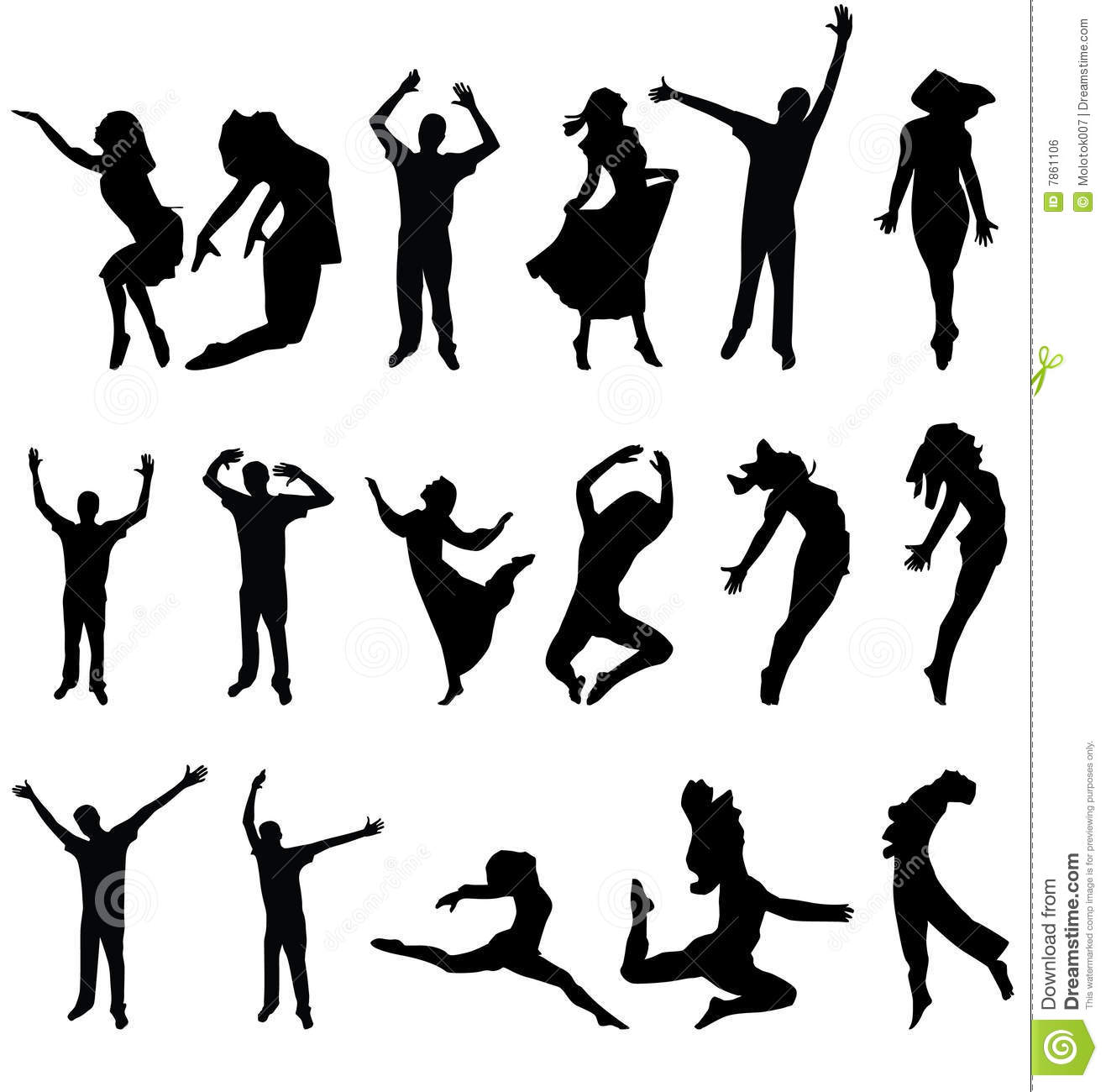 Dance Many People Silhouette Vector Illustration Stock