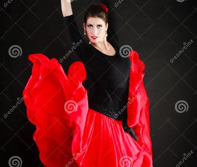 Dance Spanish Girl In Red Skirt Dancing Flamenco