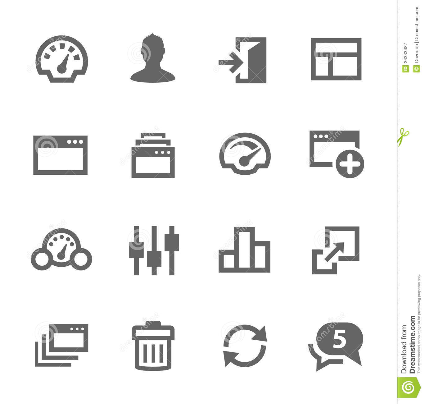 Dashboard Icons Set Stock Vector Illustration Of Meter