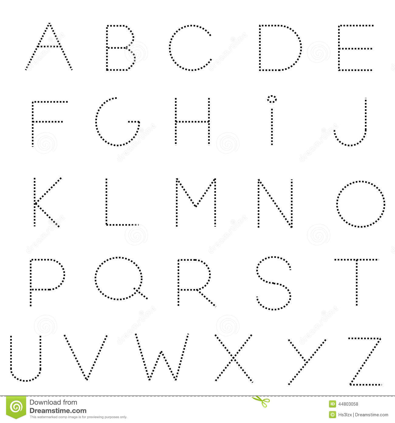 Dashed Line Alphabet Set Stock Vector