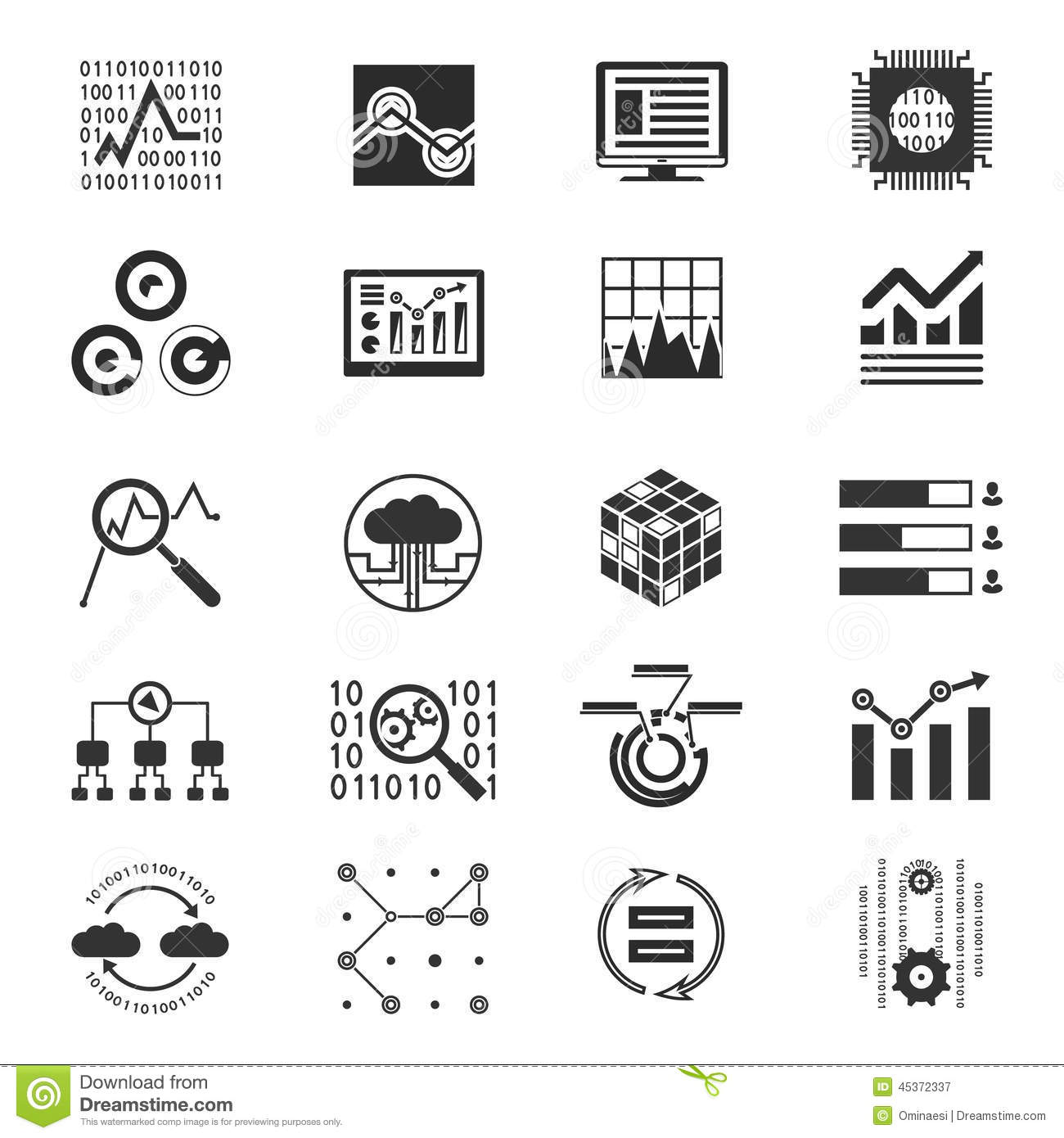 Icons Setytic And Investments Vector Illustration