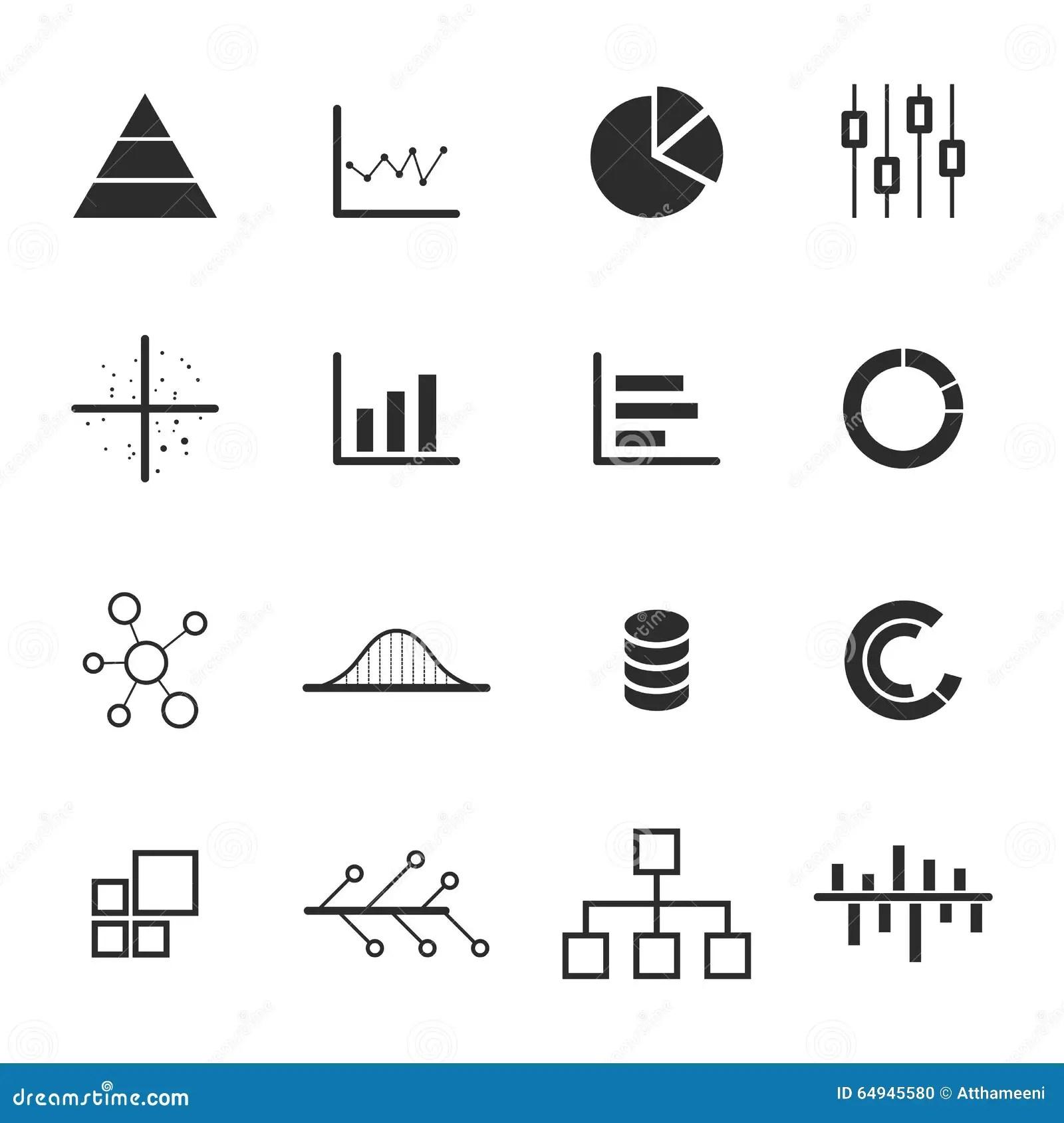 Data Chart Diagram Icon Set Stock Vector