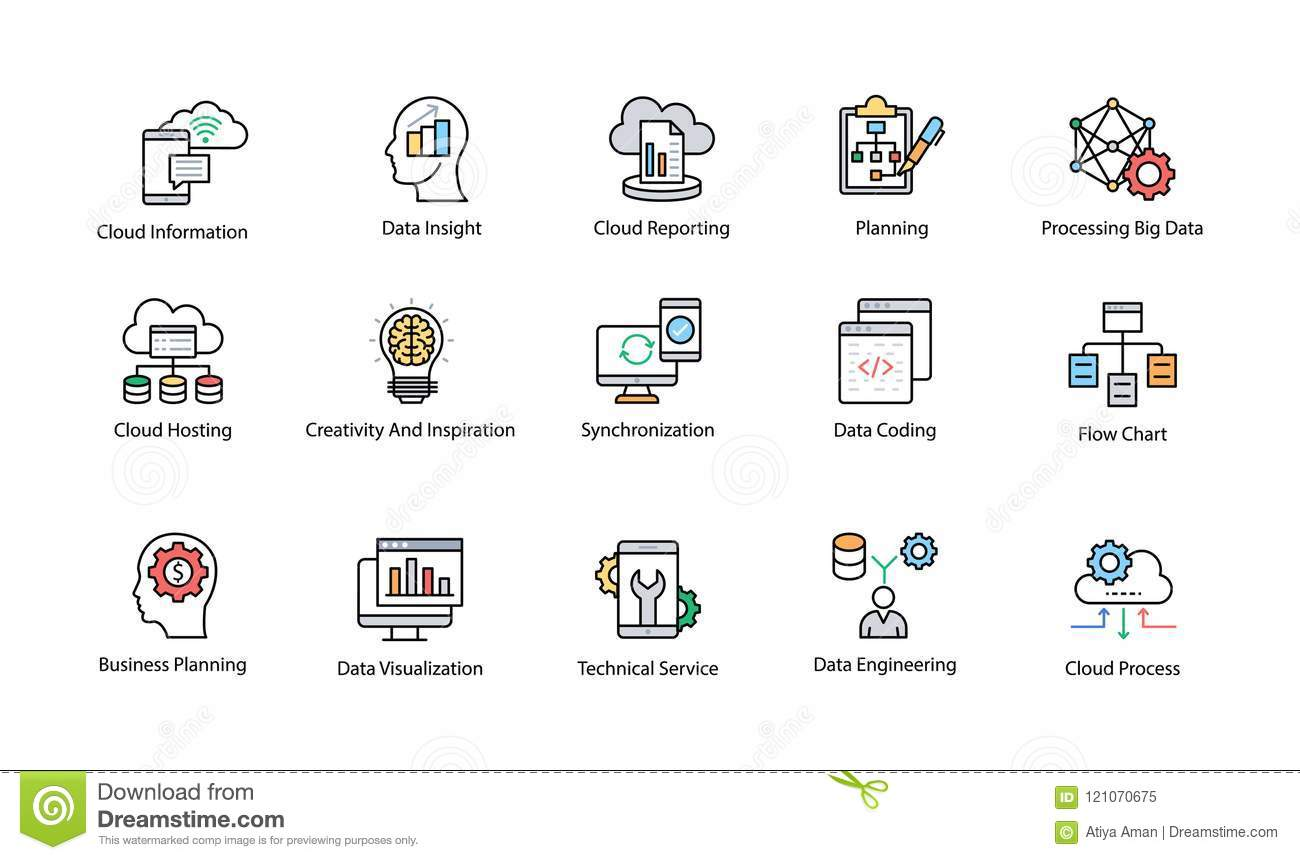 Data Science Colored Vector Icons Set Stock Illustration