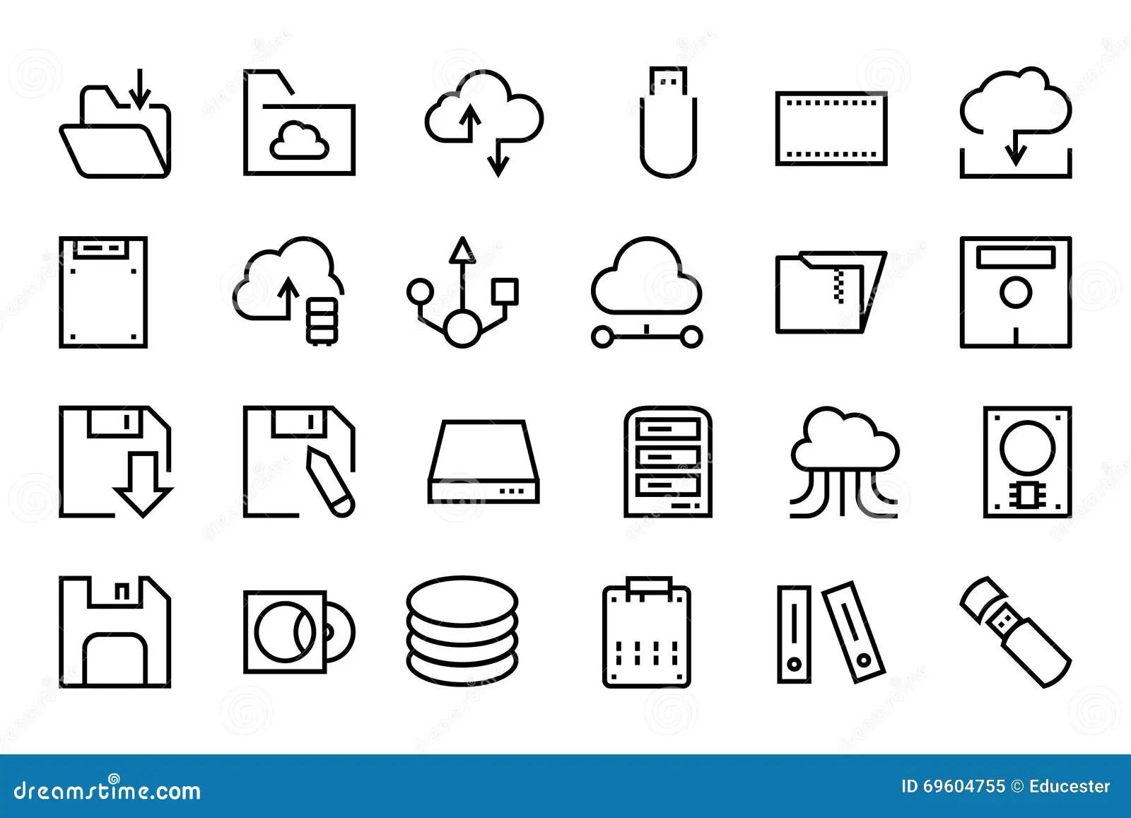 Data Storage Vector Line Icons 2 Stock Illustration