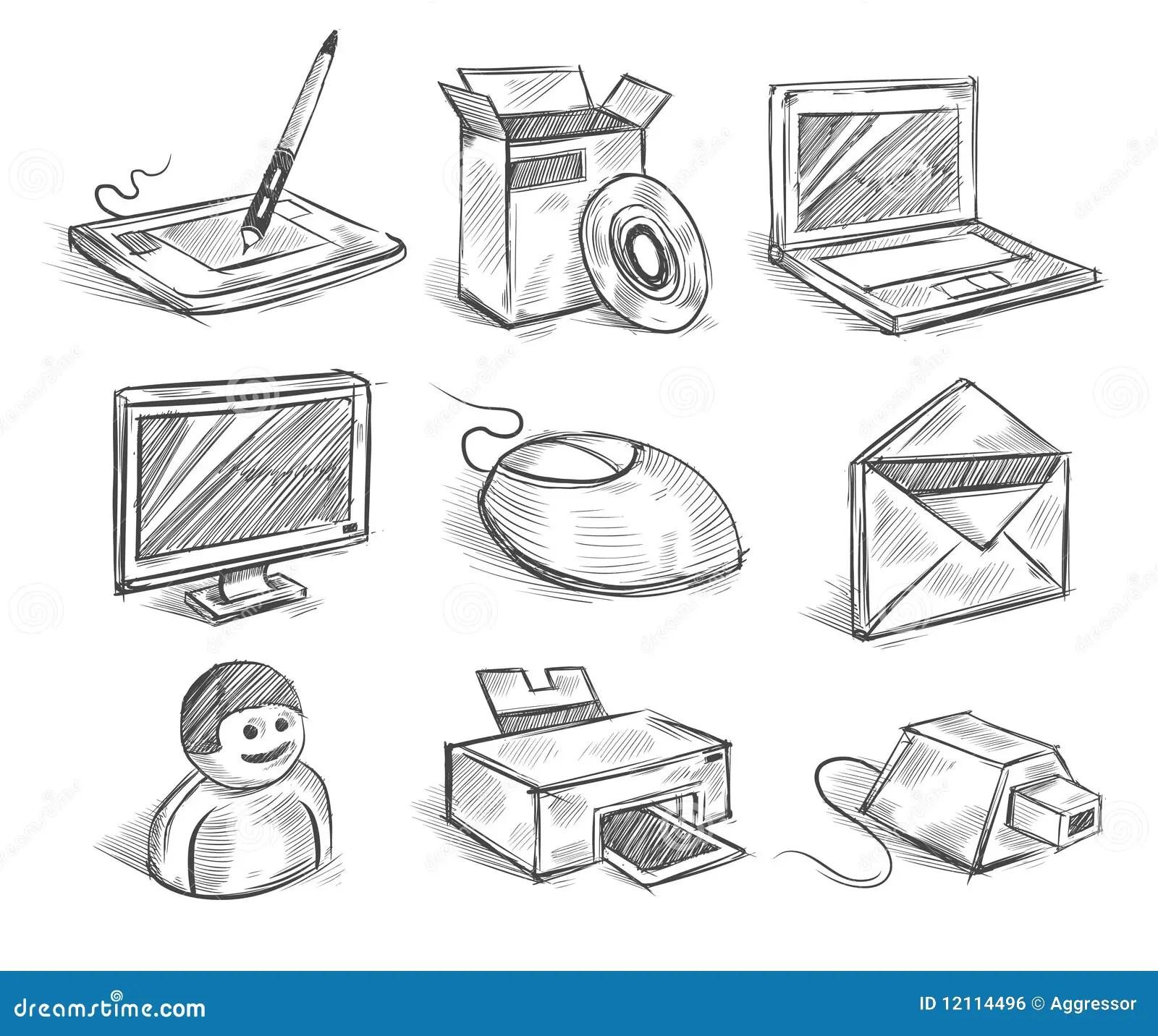 Dator Tecknade Handsymboler Vektor Illustrationer