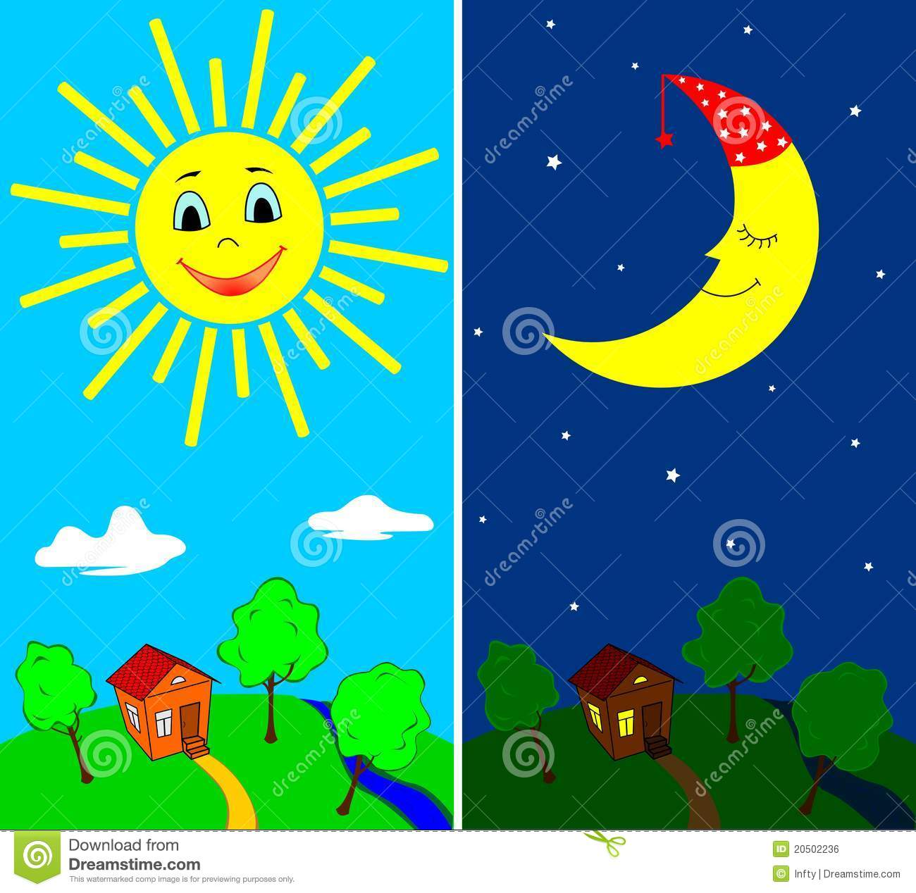 Day And Night Stock Vector Illustration Of Bright Moon
