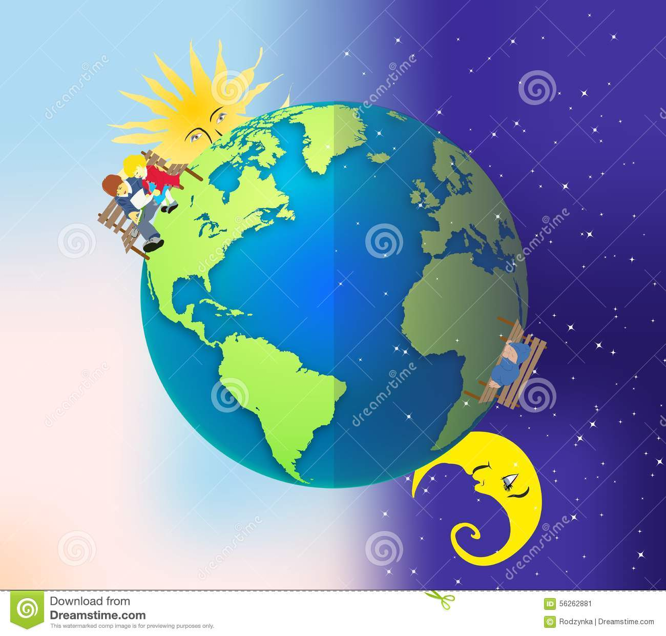 Day And Night Stock Illustration Illustration Of Blue