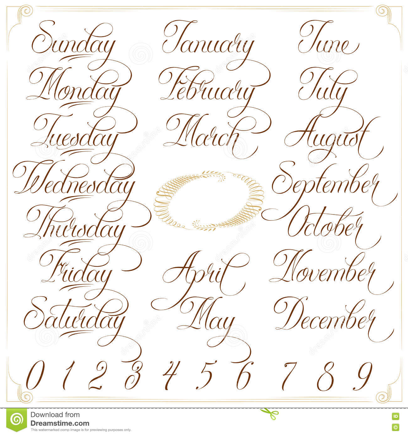 Days Months Numbers Brown Big Set Stock Vector