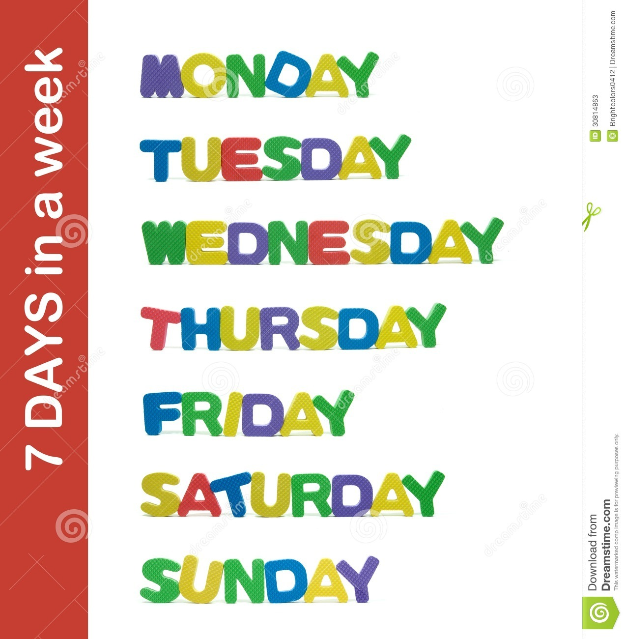 7 Days In A Week Letter Stock Photos