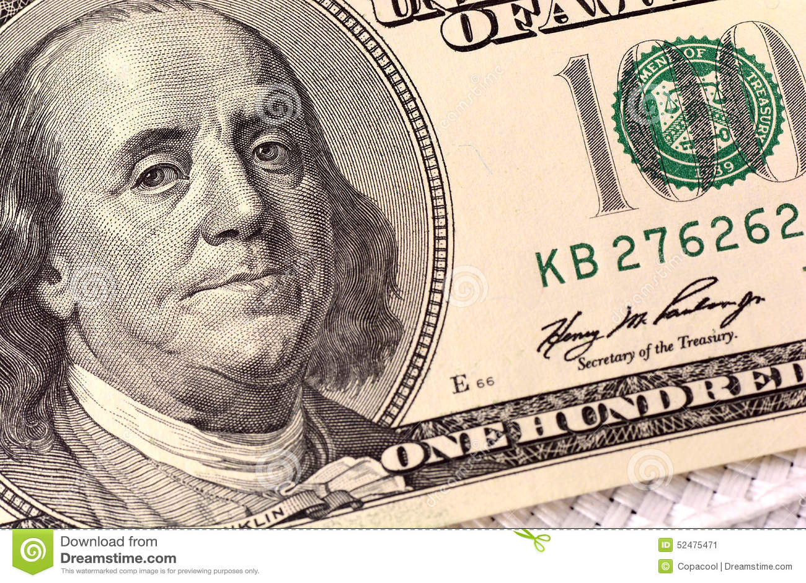 De Close Up Van Dollars Benjamin Franklin Portret Op