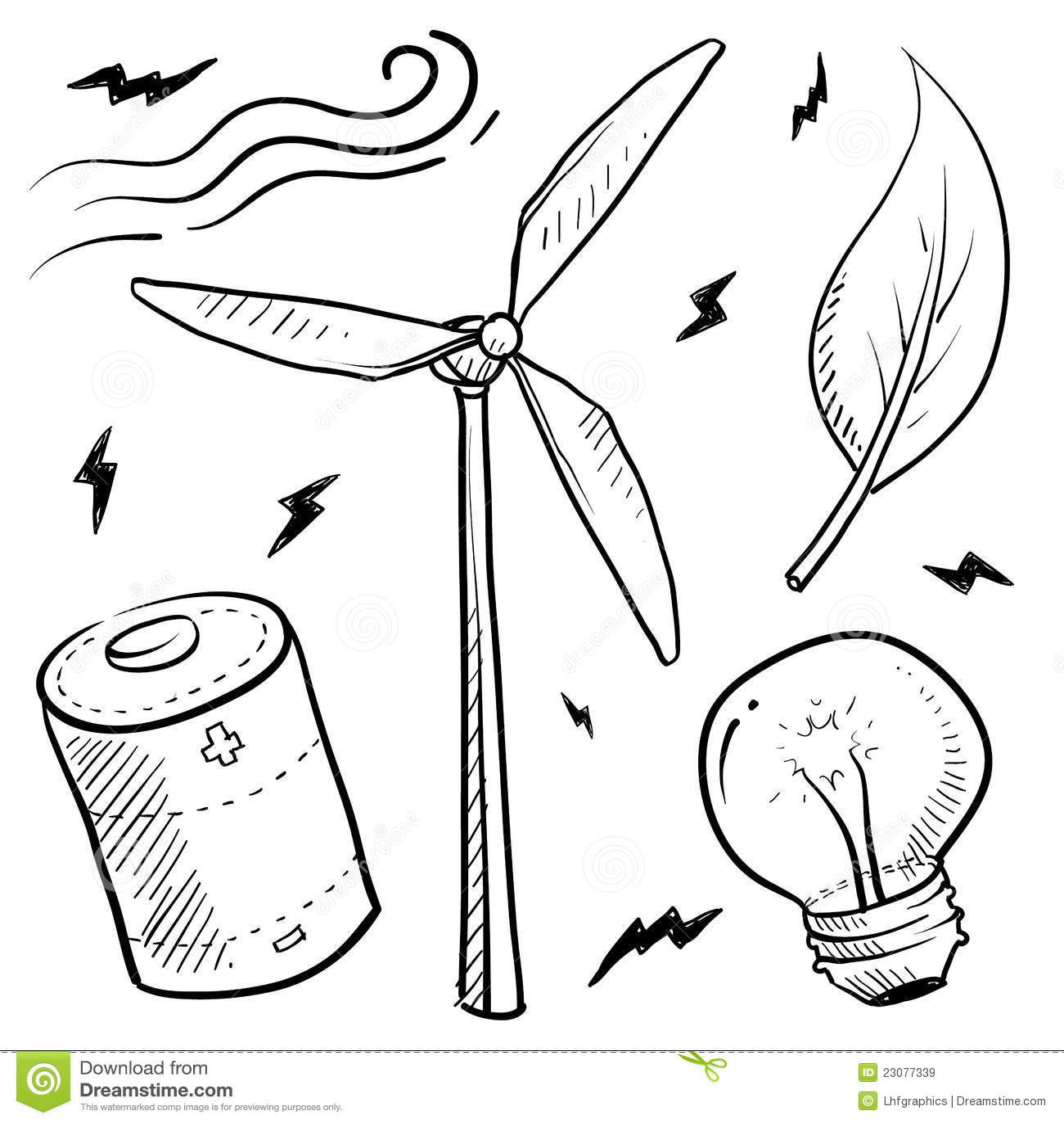 De Energie Van De Wind Heeft Schets Bezwaar Vector