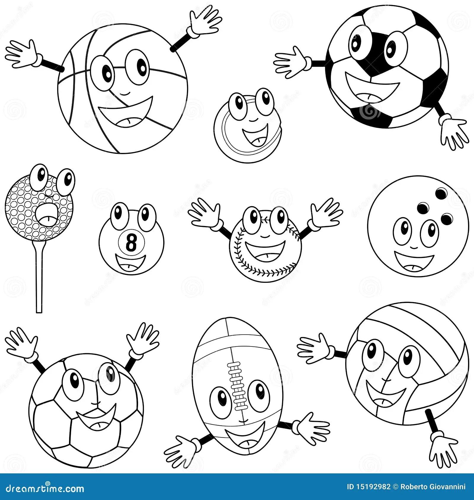 De Kleurende Karakters Van De Ballen Van De Sport Vector Illustratie