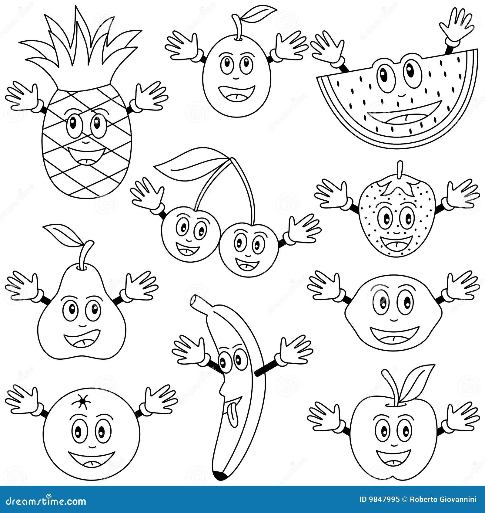 De Kleurende Karakters Van Het Fruit Vector Illustratie