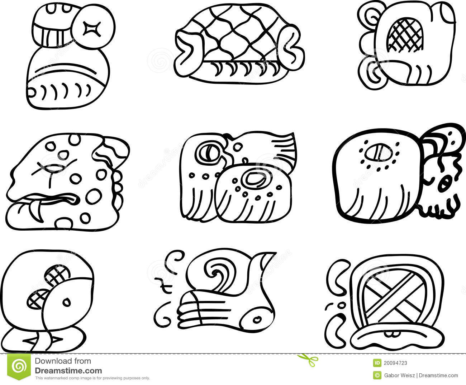 De Motieven Van Mexicaan Aztec Of Maya Glyphs Vector