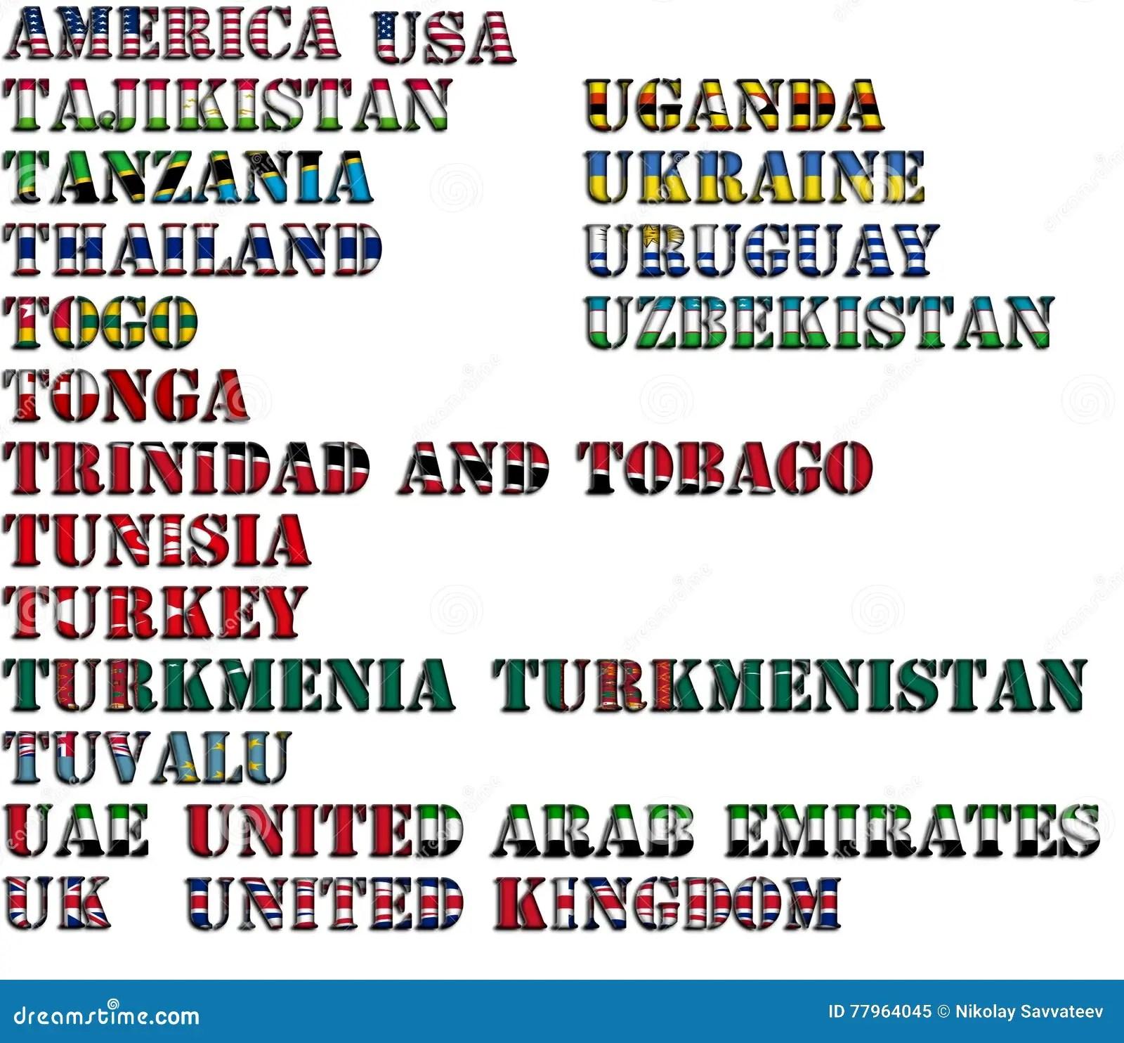 De Namen Van Het Land In Kleuren Van Nationale Vlaggen