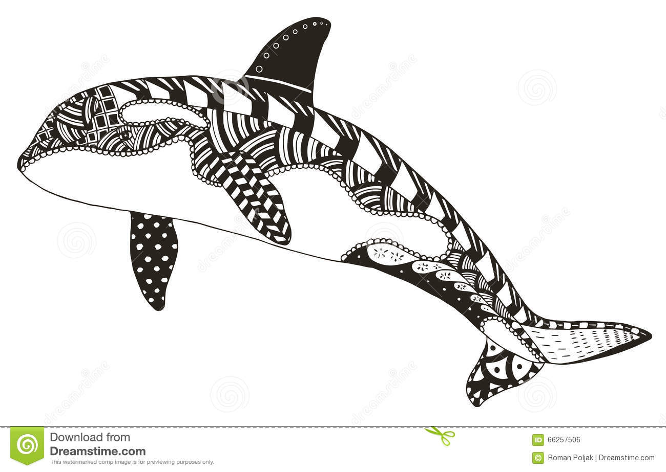 De Orka Zentangle Stileerde Vector Illustratie Uit De