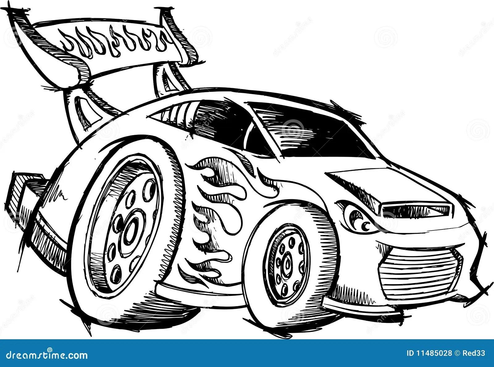 De Raceauto Van De Heet Staaf Van De Krabbel Vector