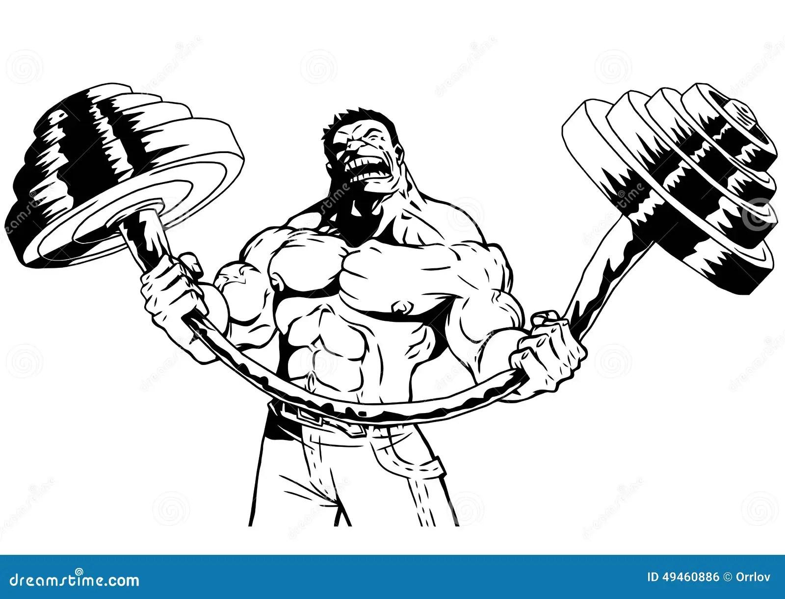 De Sterke Bodybuilder Buigt Zware Barbell Vector