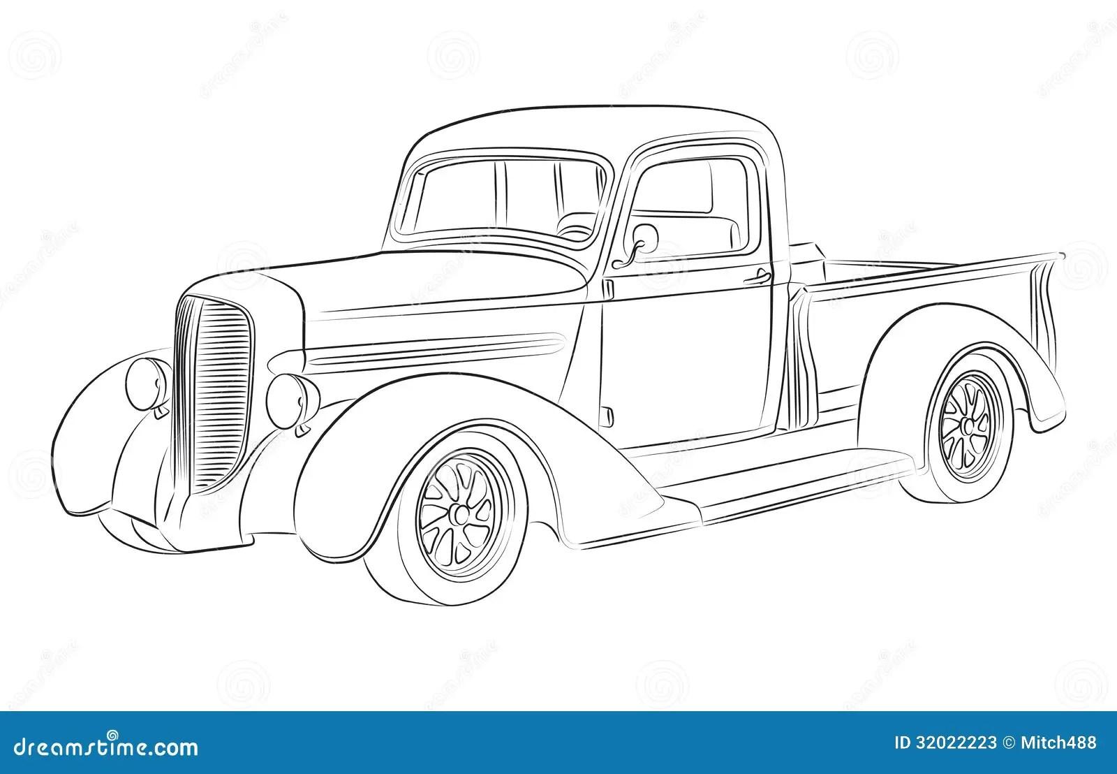 De Tekening Van De Hotrodbestelwagen Stock Illustratie