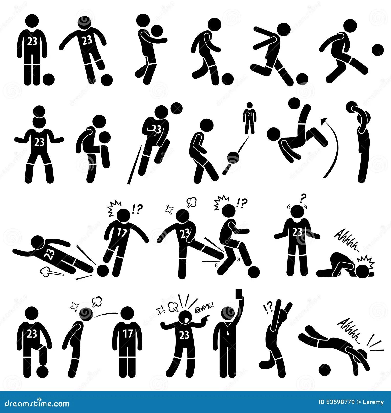 De Voetballer Actions Poses Cliparts Van De