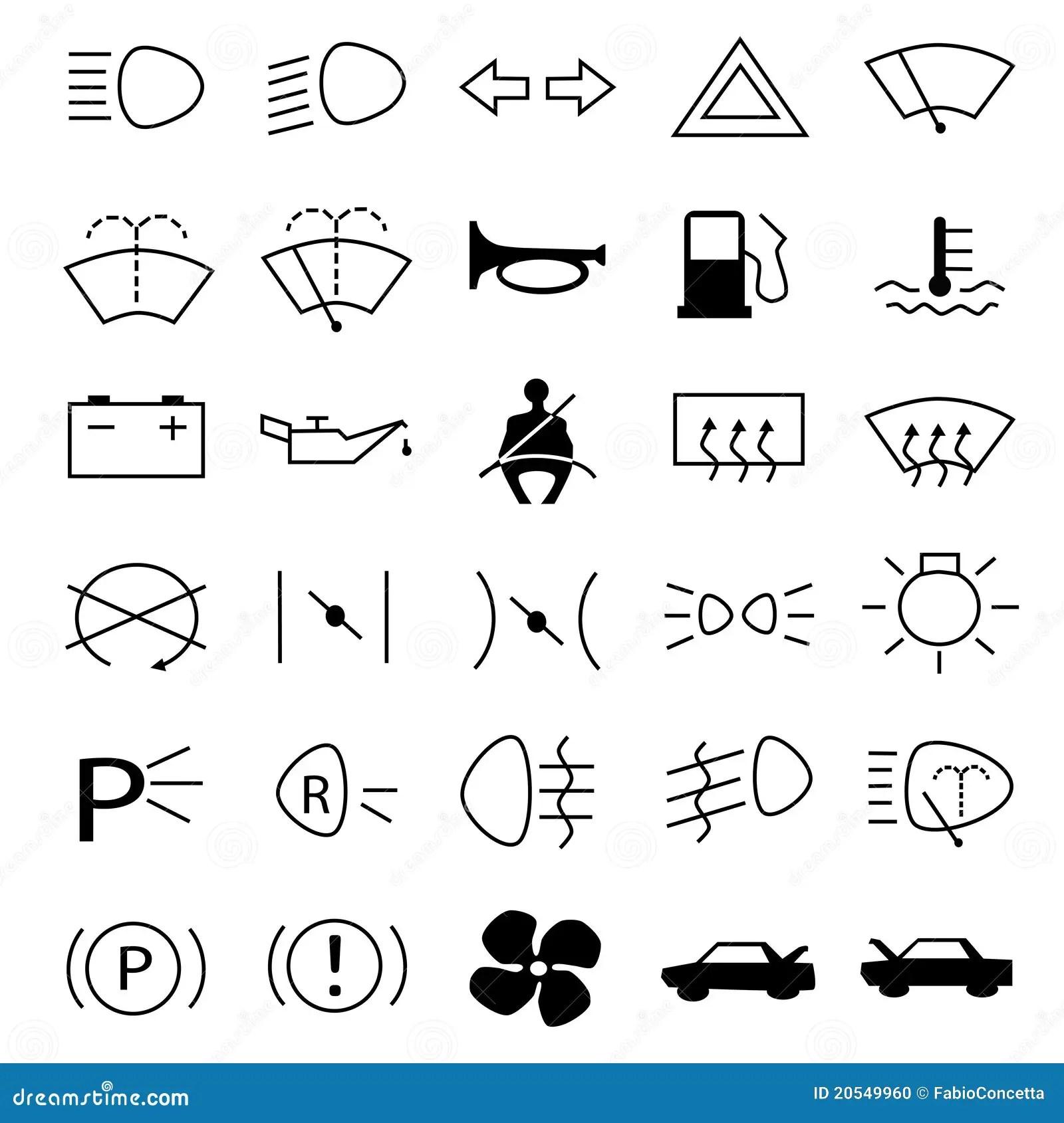 De Waarschuwingssymbolen Van De Auto Stock Foto
