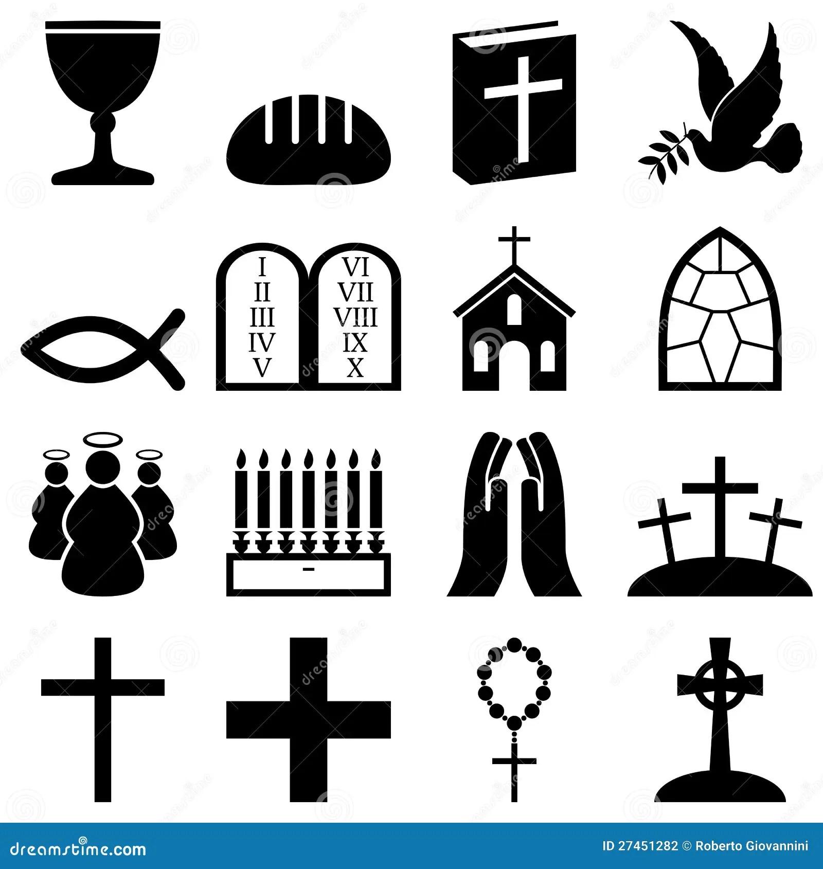 De Zwarte Amp Witte Pictogrammen Van Het Christendom Vector