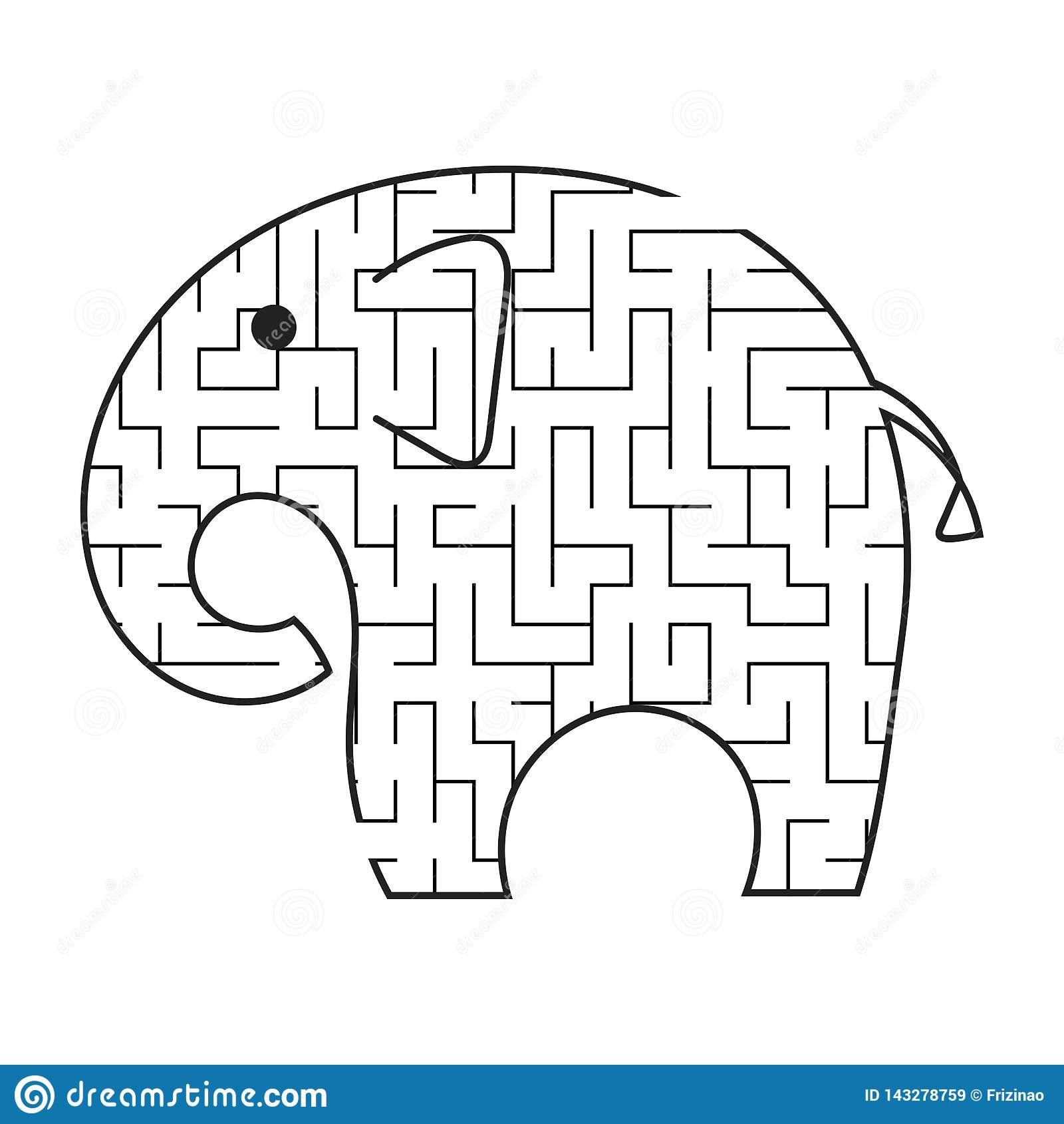 De Zwarte Olifant Van Het Labyrintbeeldverhaal Jonge