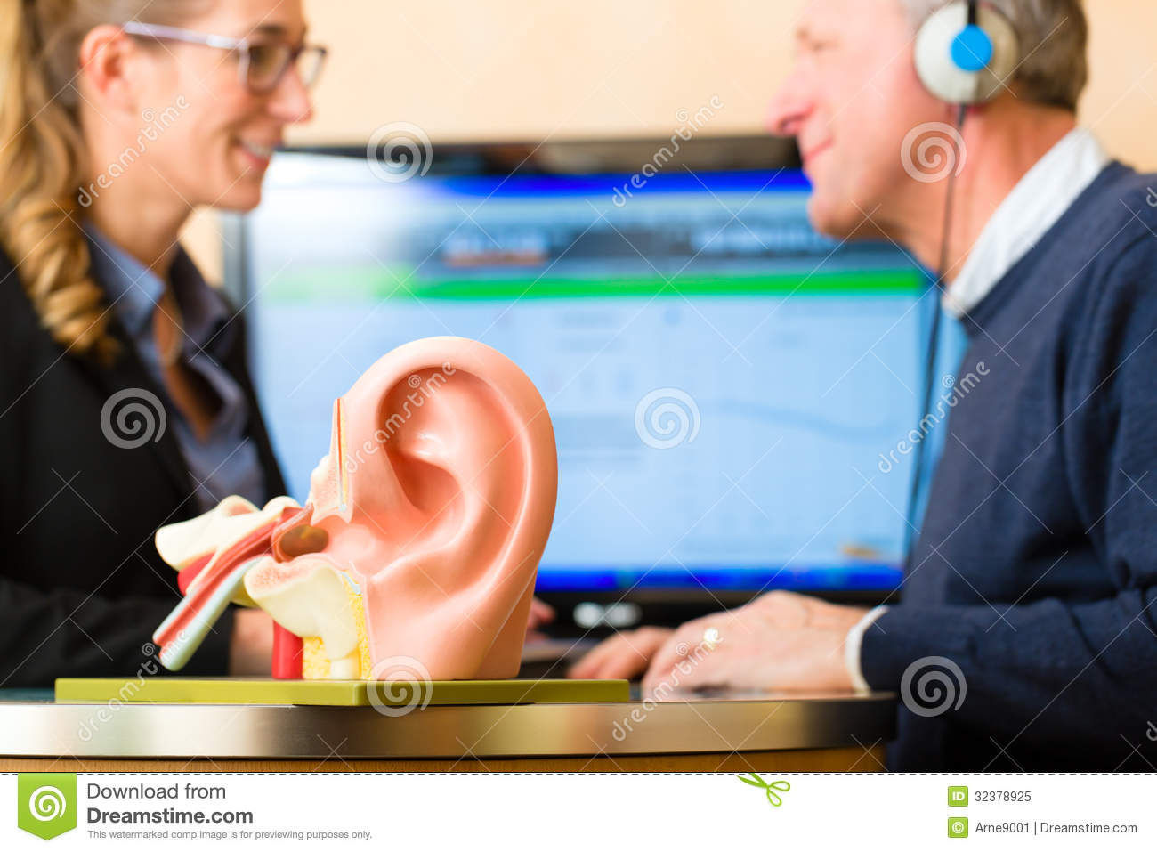 Deaf Man Makes A Hearing Test Royalty Free Stock Photo