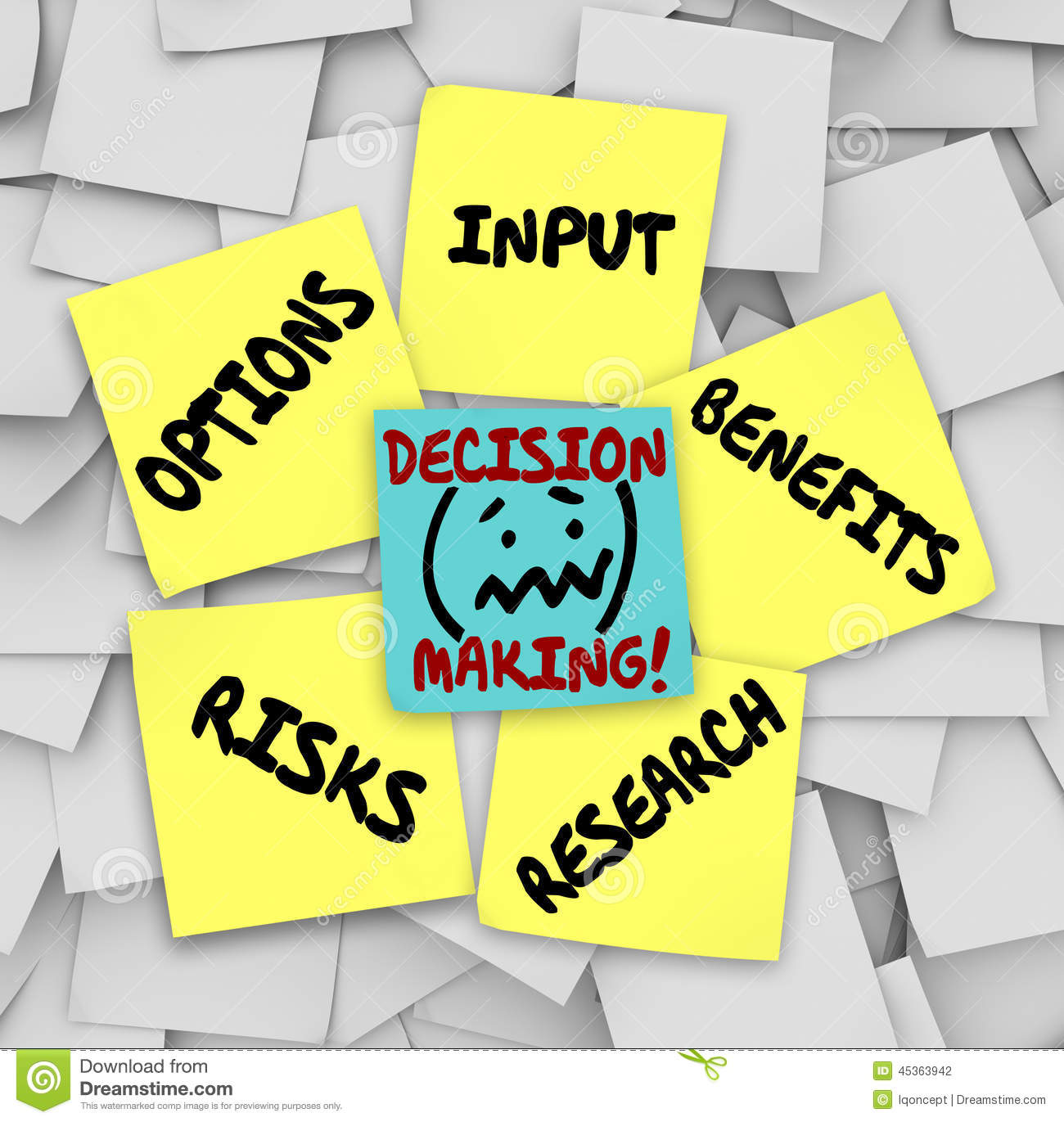 Decision Making Sticky Notes Input Options Risks Benefits