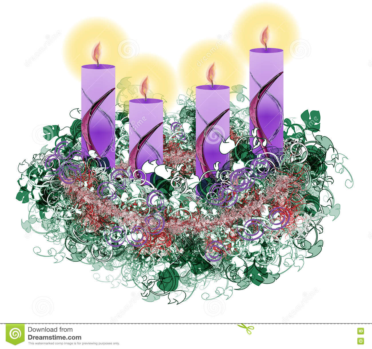 Decorated Floral Advent Wreath With Four Advent Candles