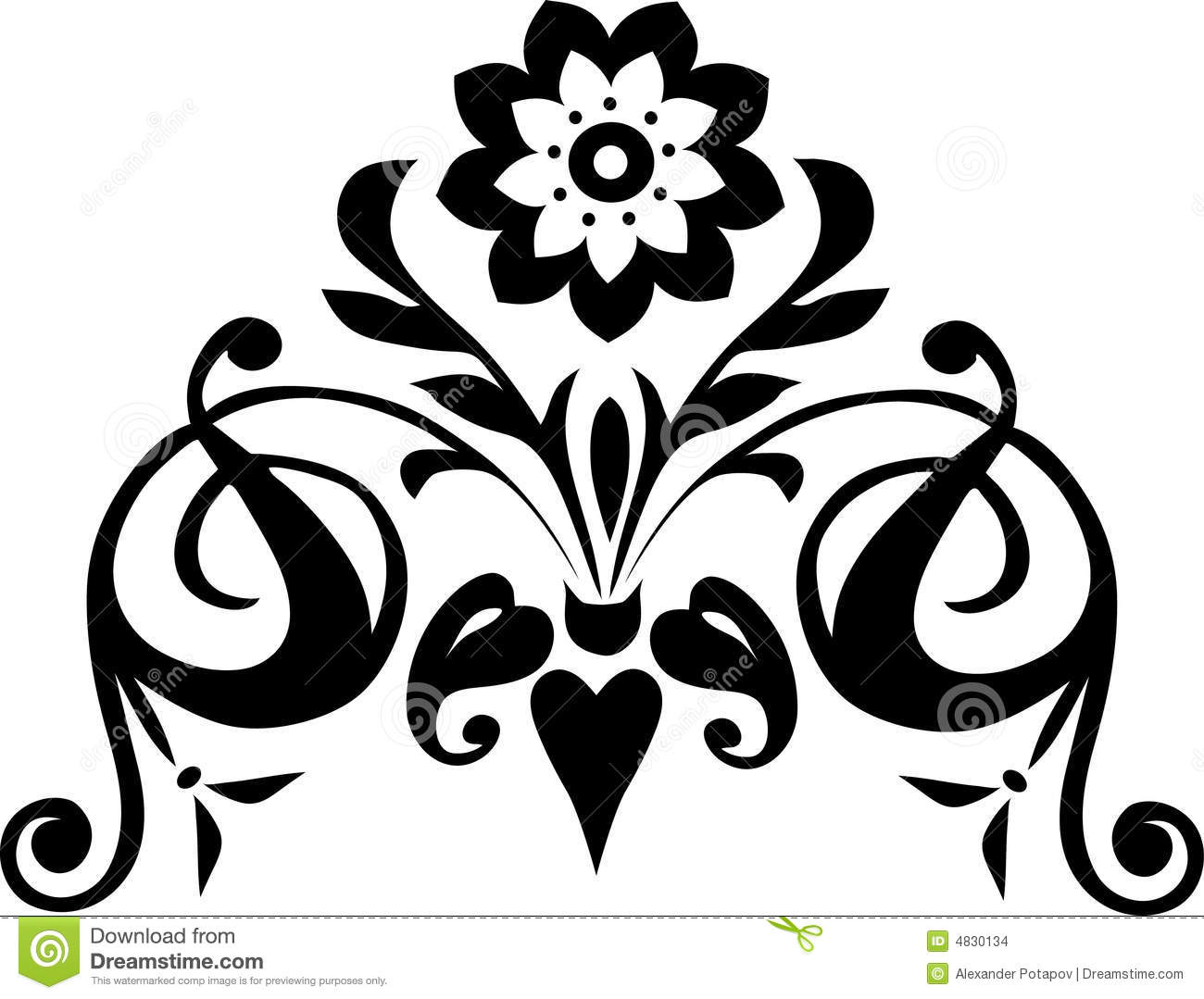 Decoration With Black Flower Stock Images
