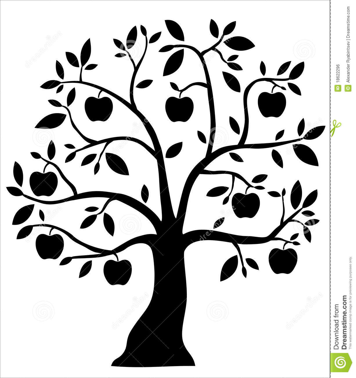 Decorative Black Apple Tree Stock Illustration