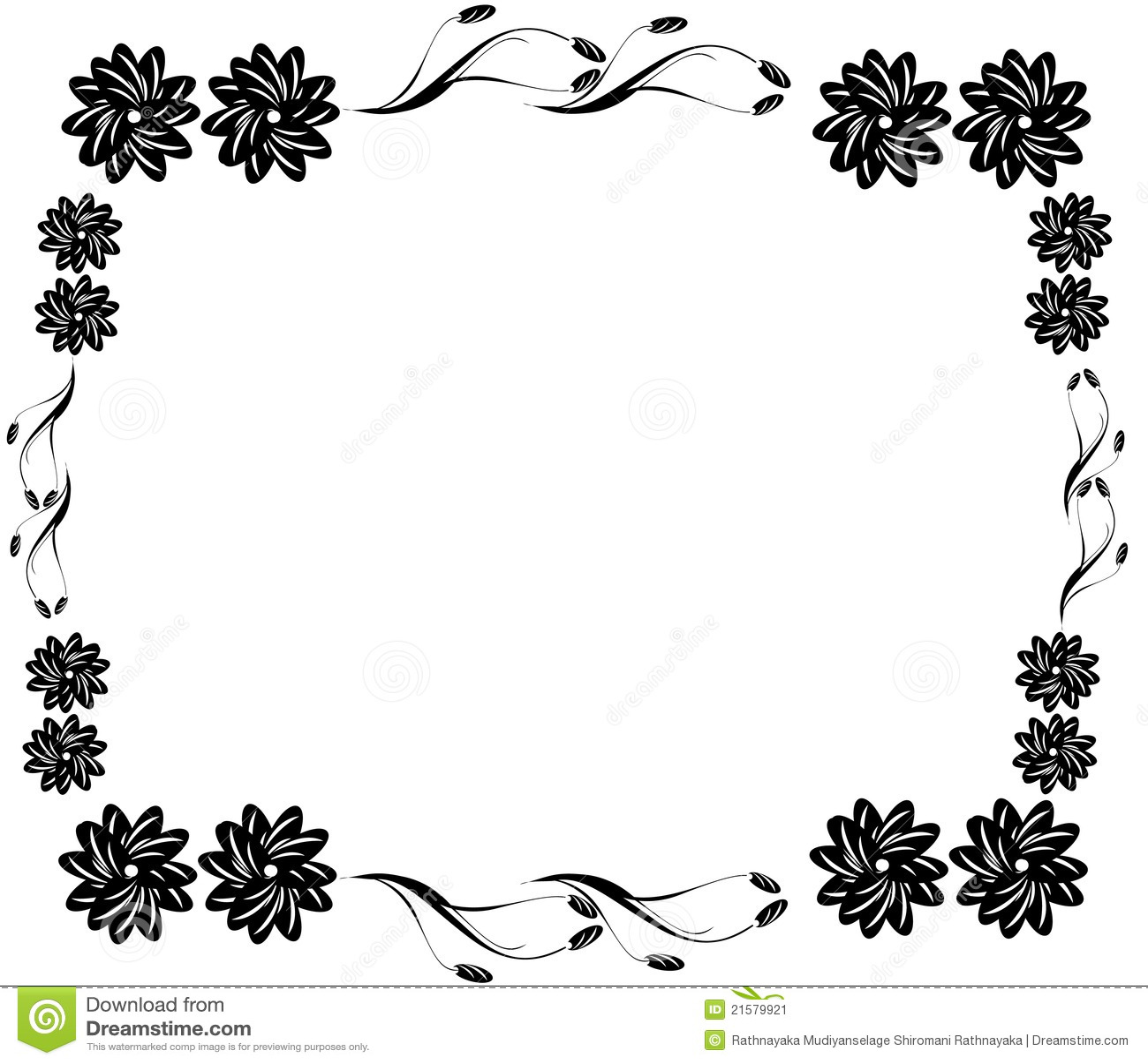 Decorative Black Flower Border Stock Illustration