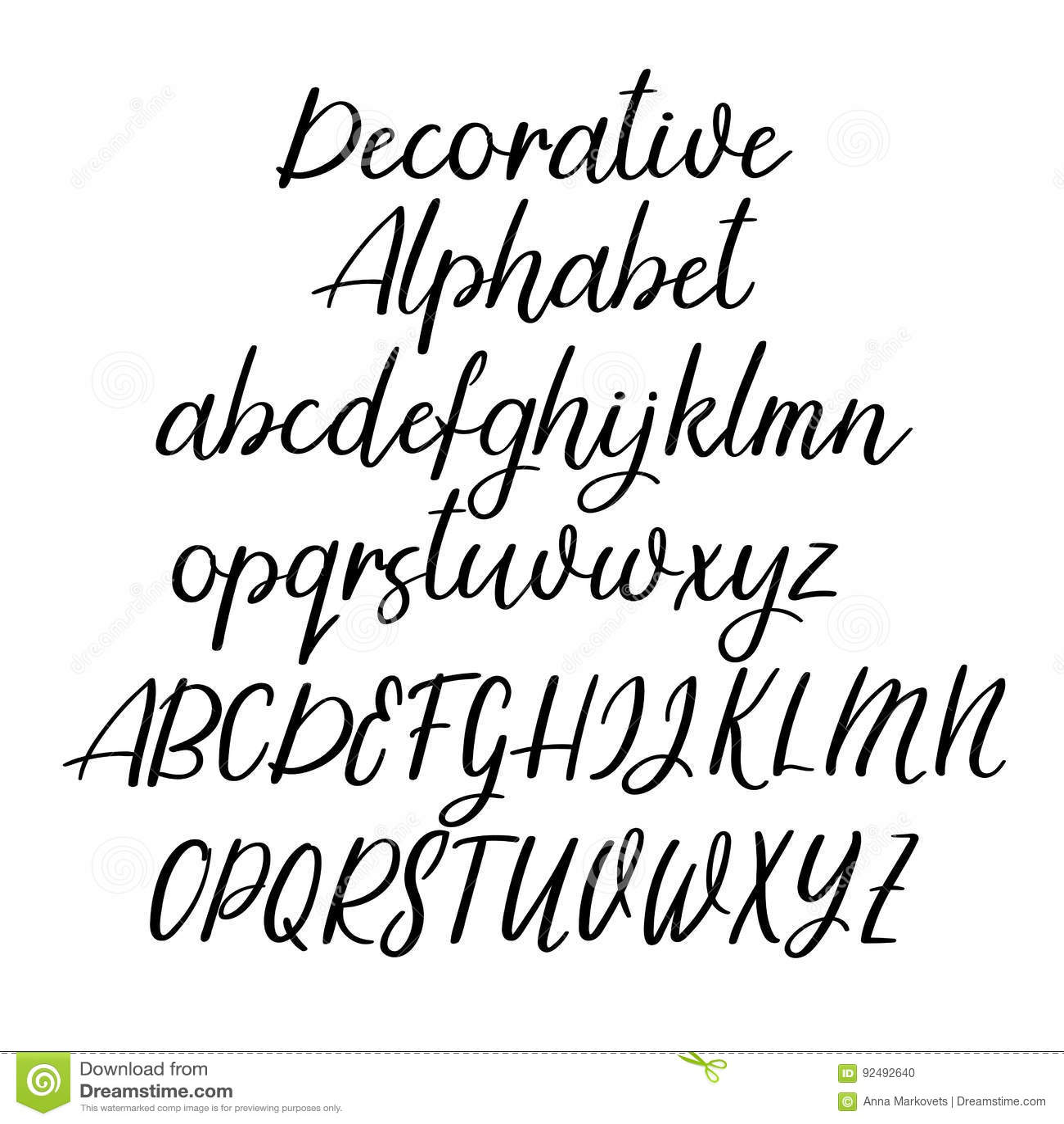 Decorative Calligraphic Alphabet Handwritten Brush