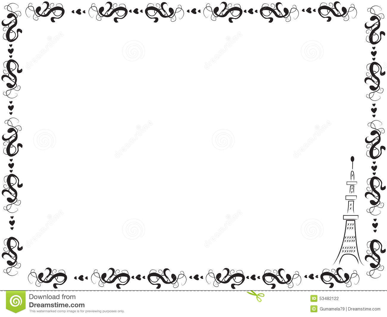 Decorative Frame Border With The Eiffel Tower Stock