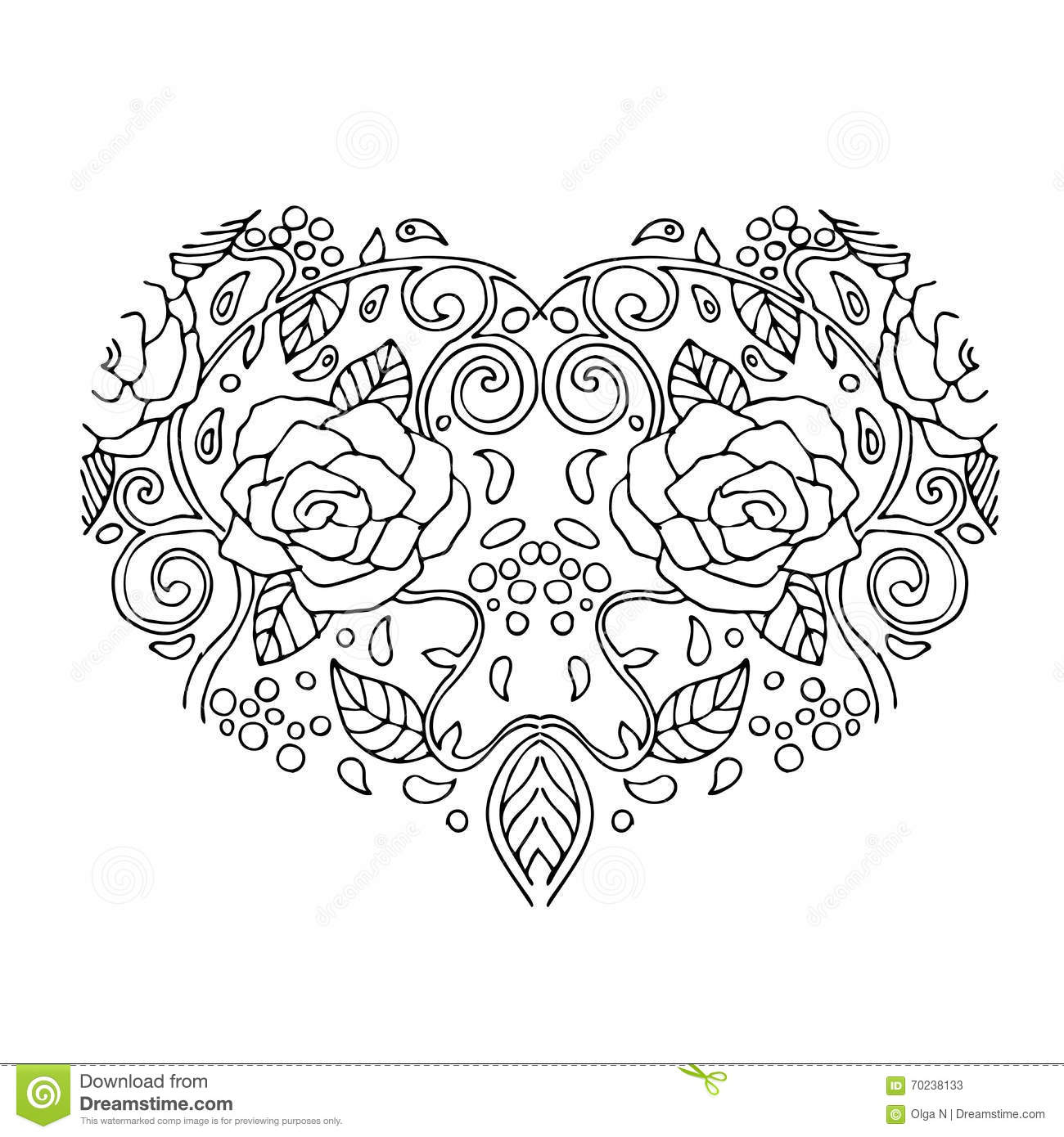 Decorative Love Heart With Flowers Valentines Day Card