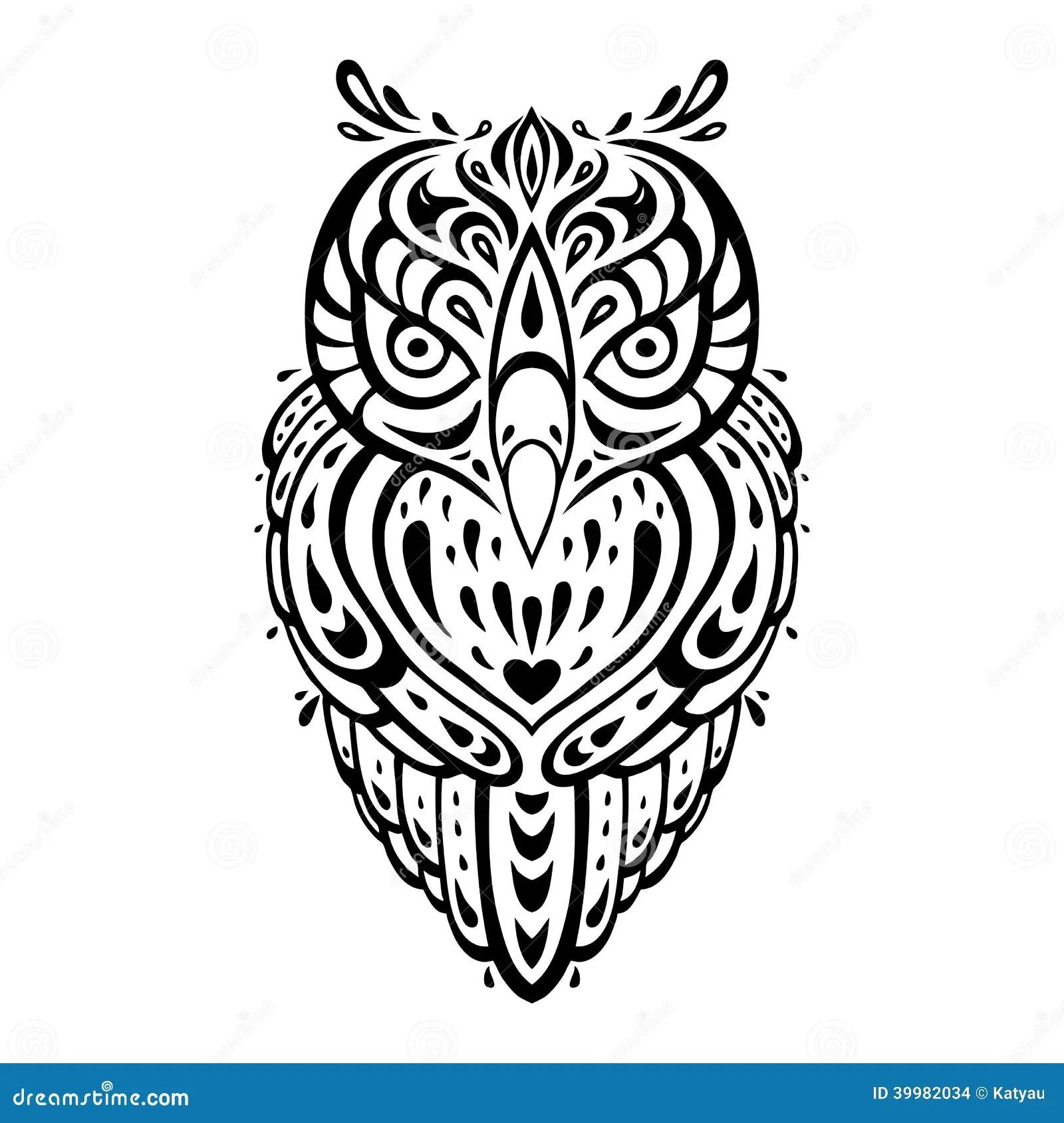 Decorative Owl Ethnic Pattern Stock Illustration Image