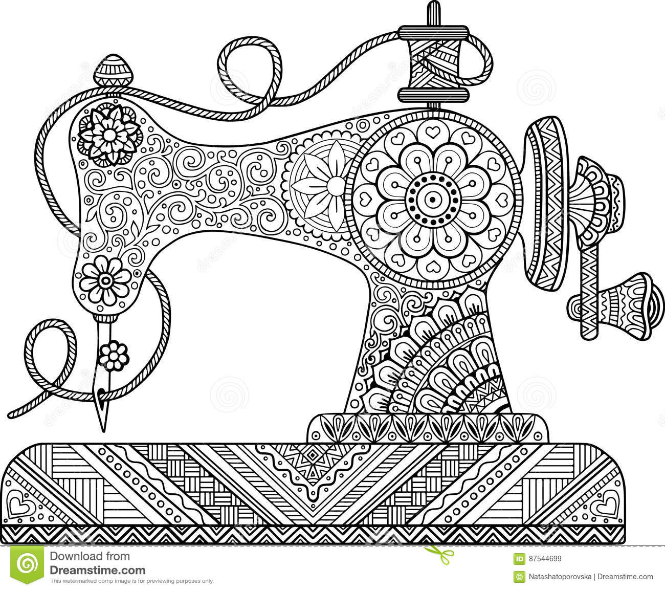 Decorative Vintage Sewing Machine With Ornaments And