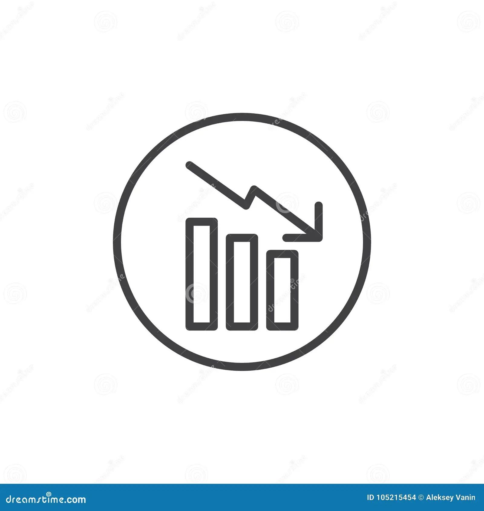 Decrease Graph Line Icon Stock Vector Illustration Of