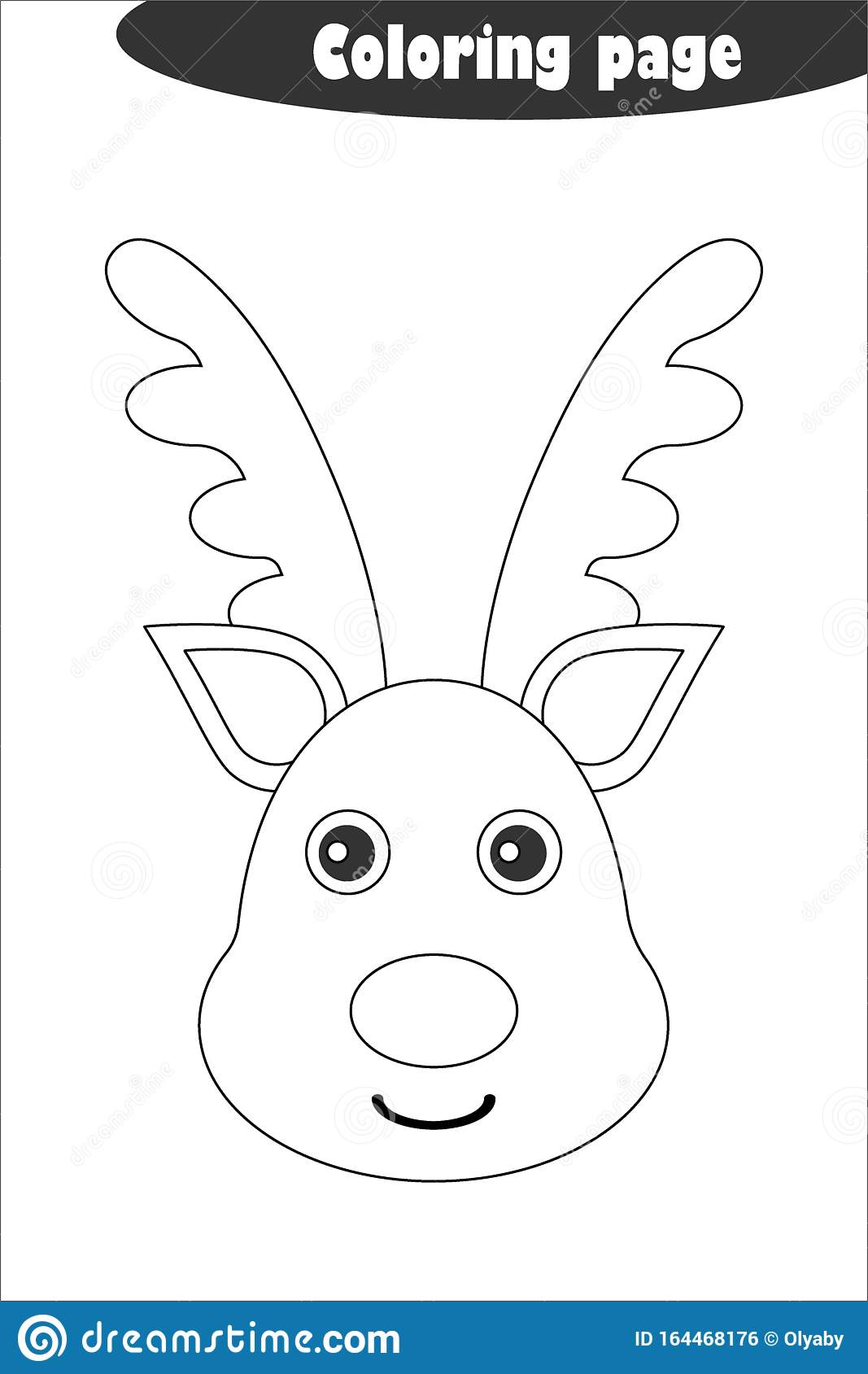 Deer In Cartoon Style Coloring Page Christmas Education
